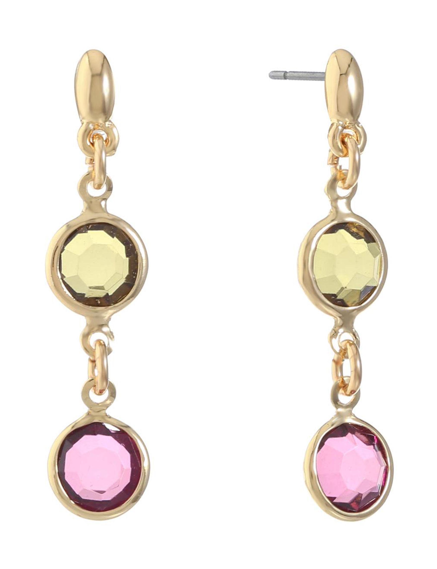 Gloria Vanderbilt Gold / Stone Drops Earrings Fashion Jewelry