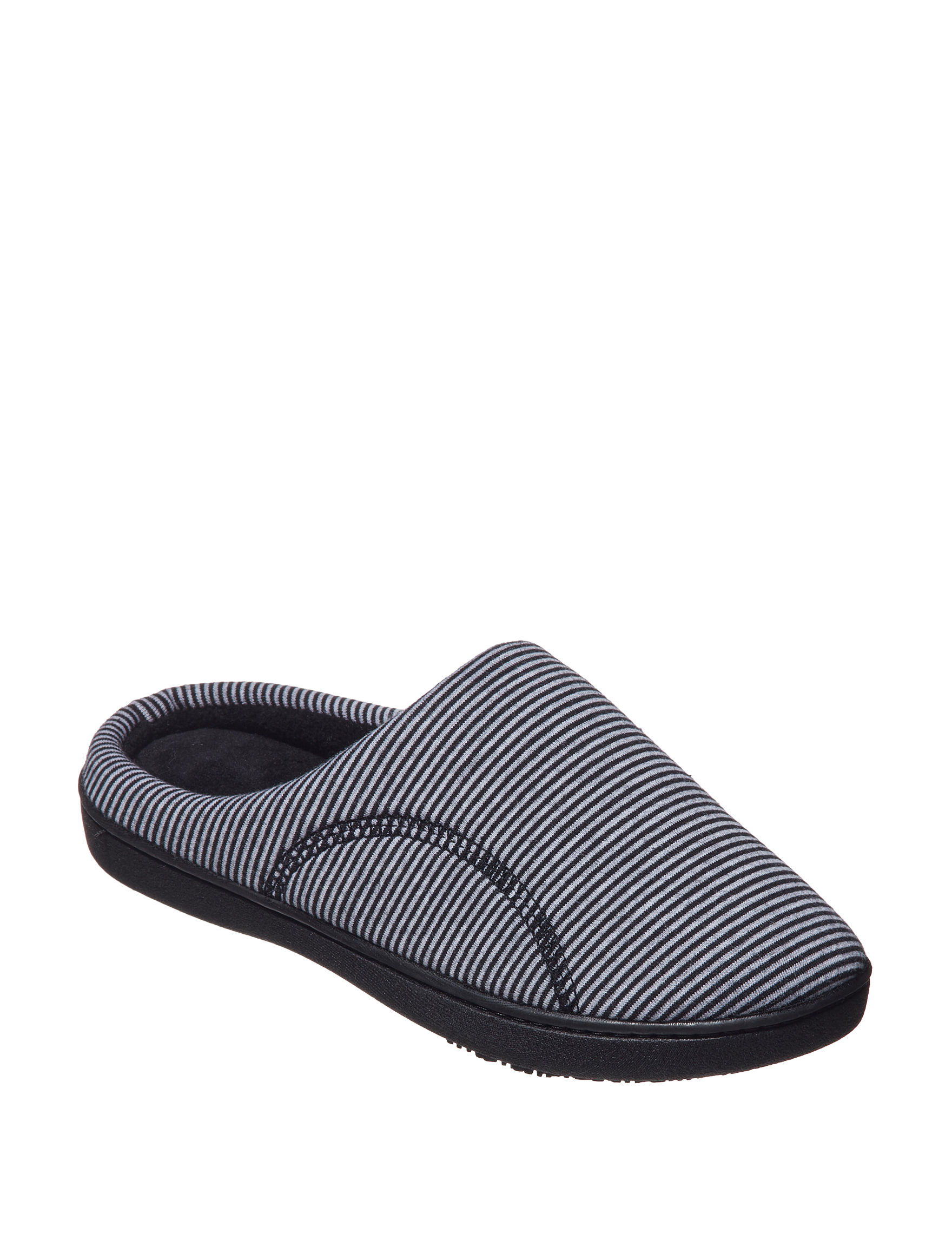 Isotoner Black Stripe Slipper Shoes