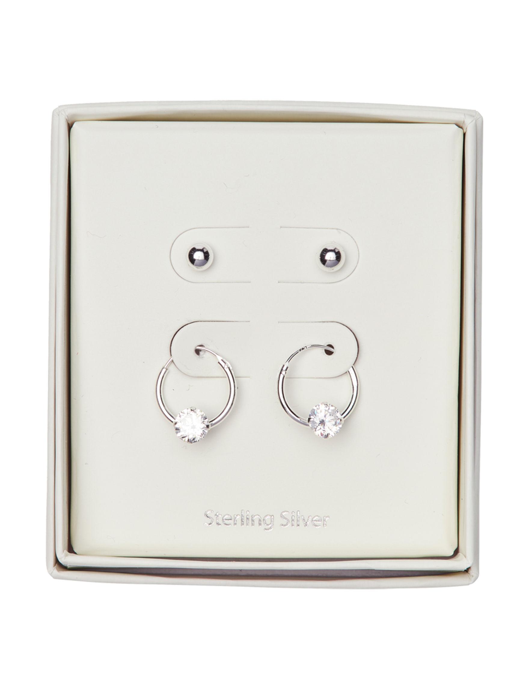 Marsala Sterling Silver Hoops Studs Earrings Fine Jewelry