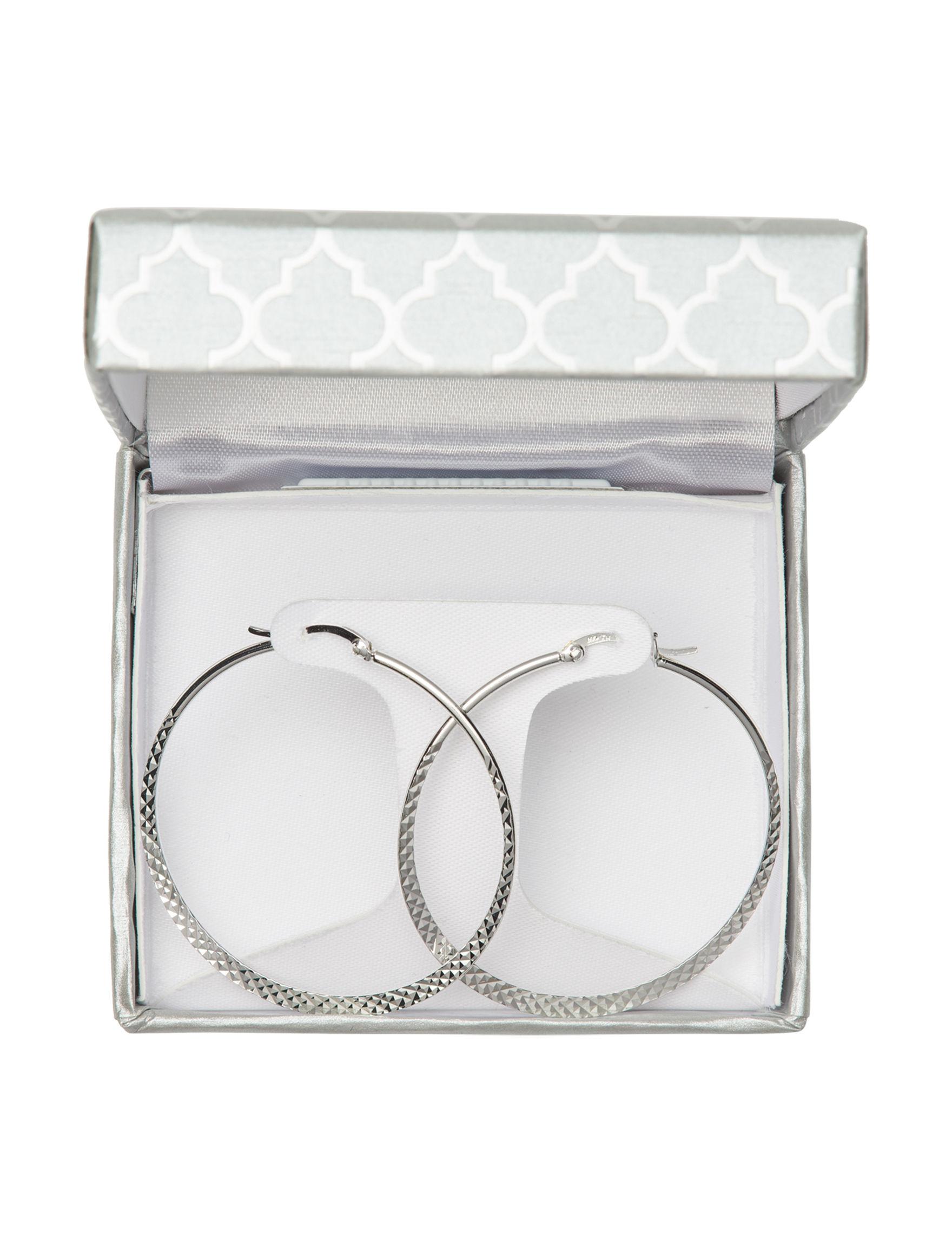 Marsala Fine Silver Plated Hoops Fine Jewelry