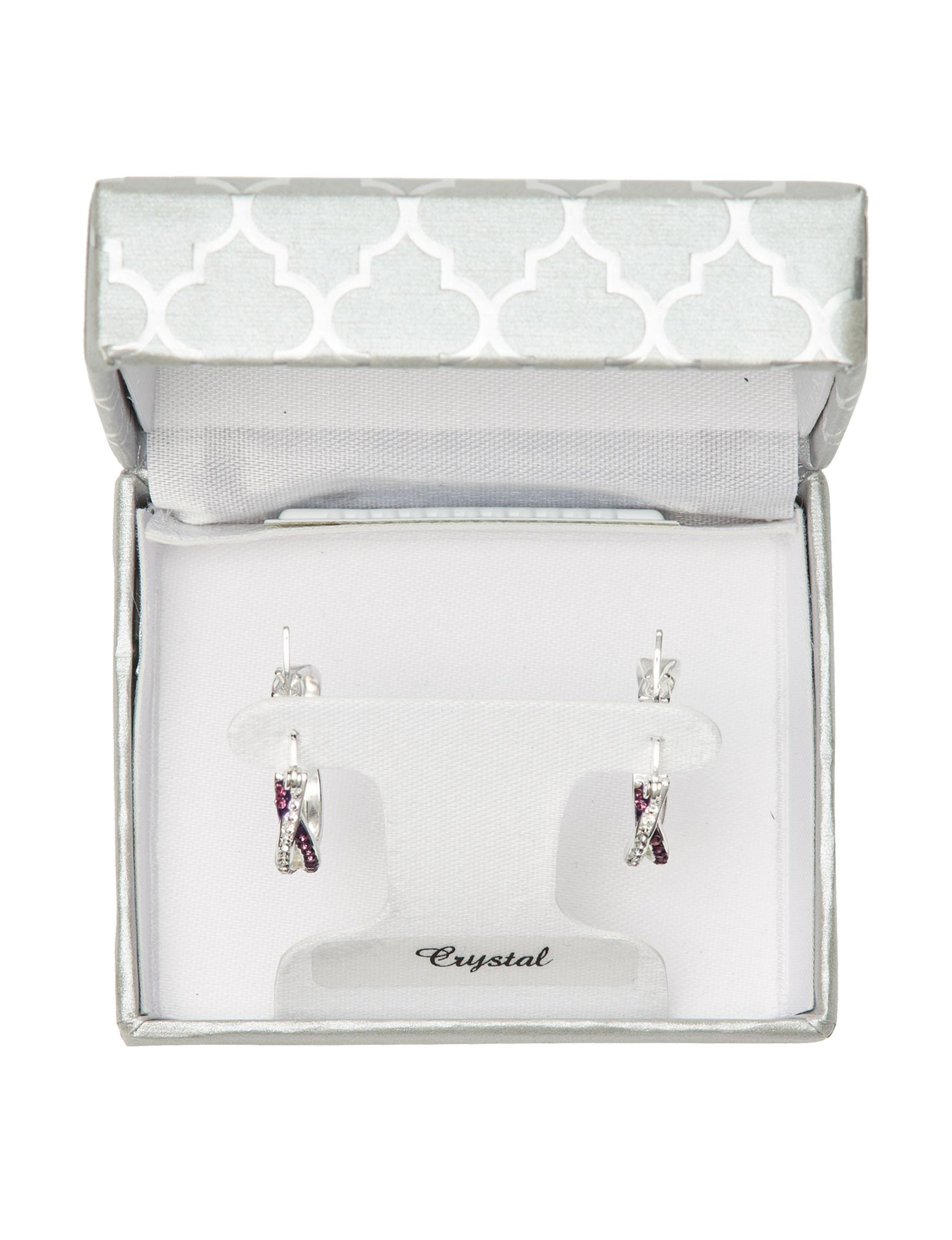 Marsala Silver / Purple Stone Hoops Earrings Fine Jewelry