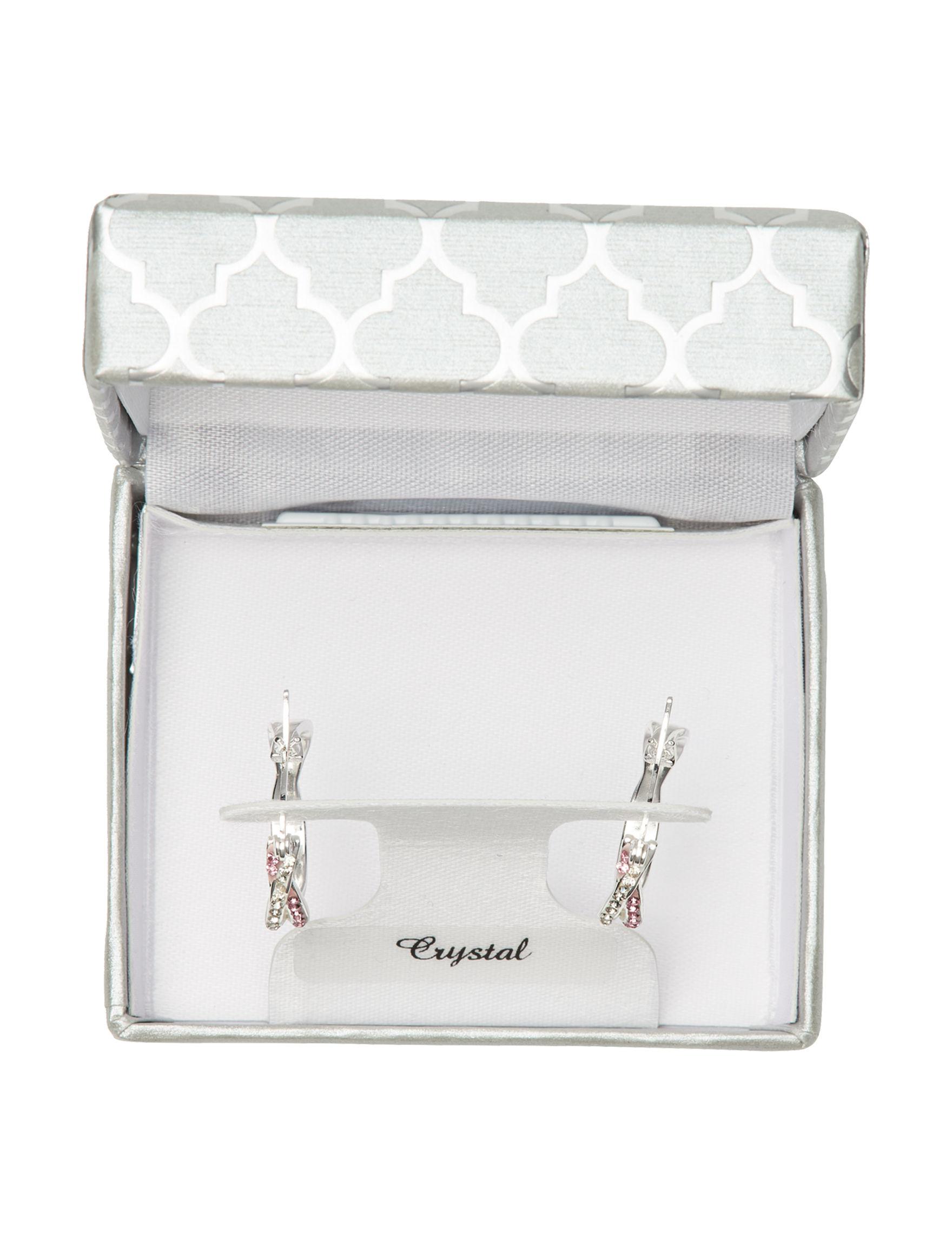 Marsala Silver / Pink Hoops Earrings Fine Jewelry