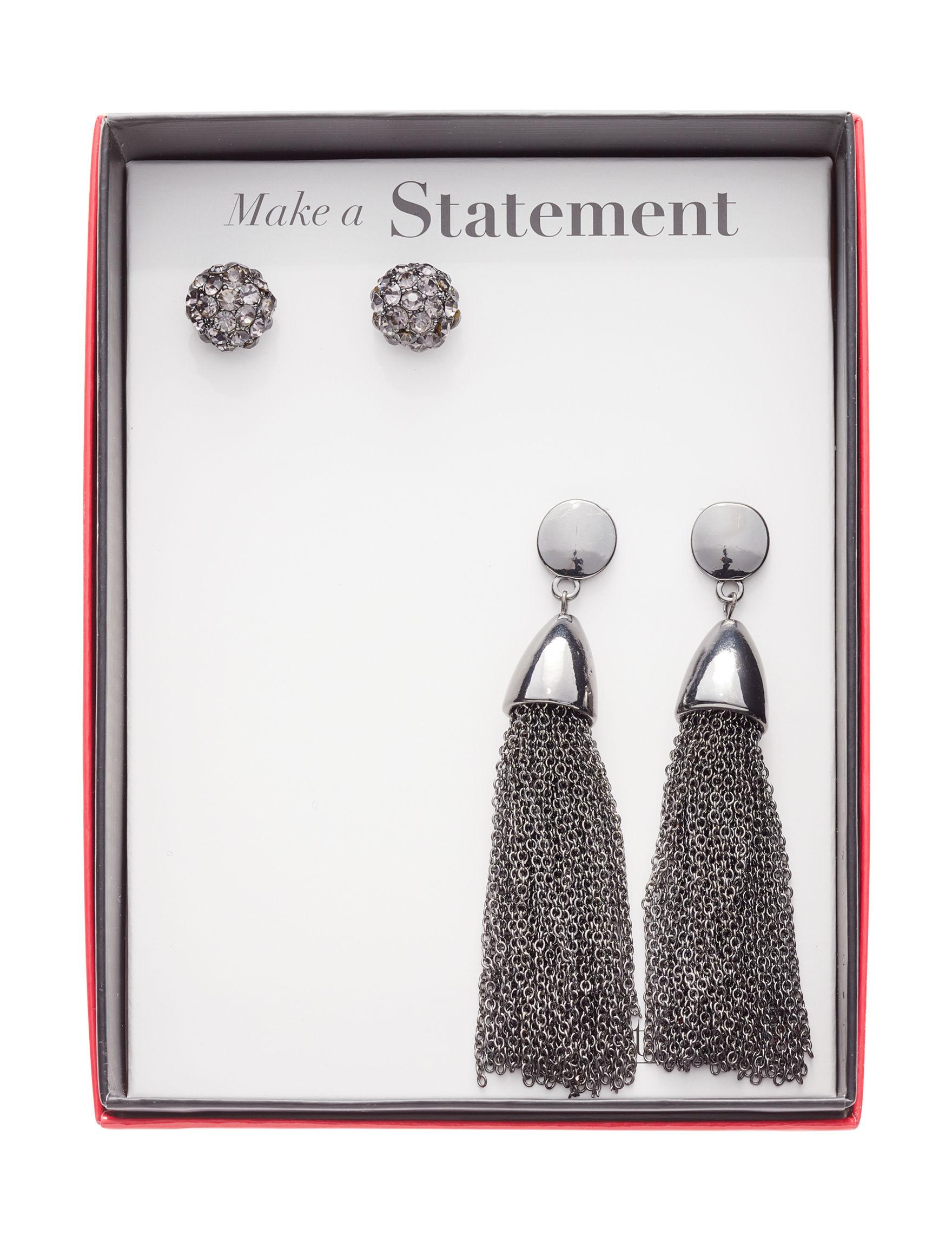 Tanya Gunmetal Drops Earrings Fashion Jewelry