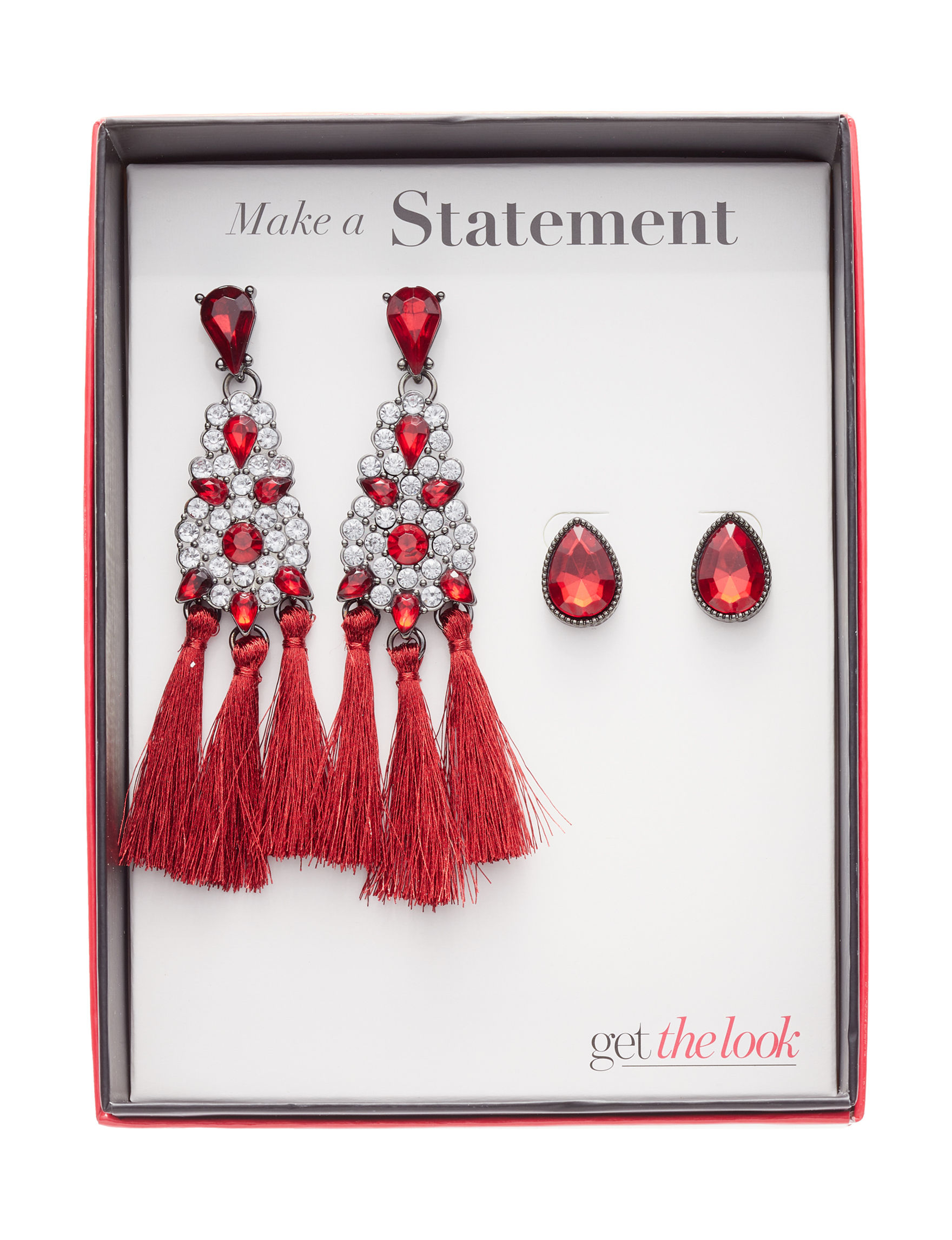 Tanya Red Earrings Fashion Jewelry