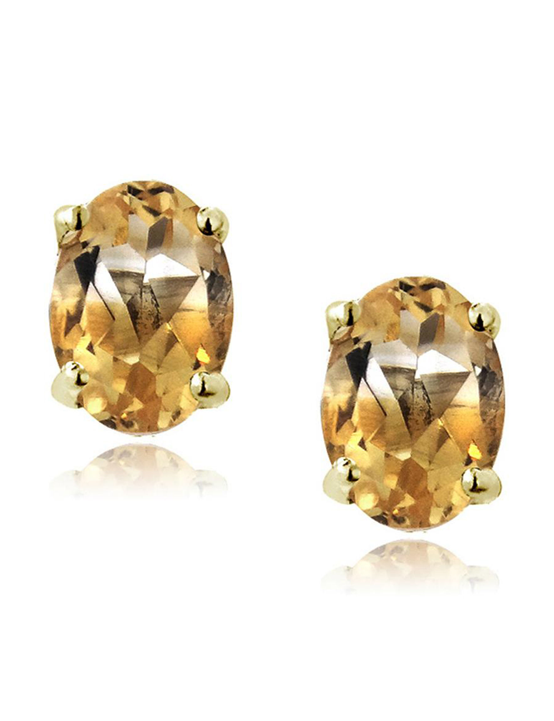 FMC Champagne Stone Studs Earrings Fine Jewelry