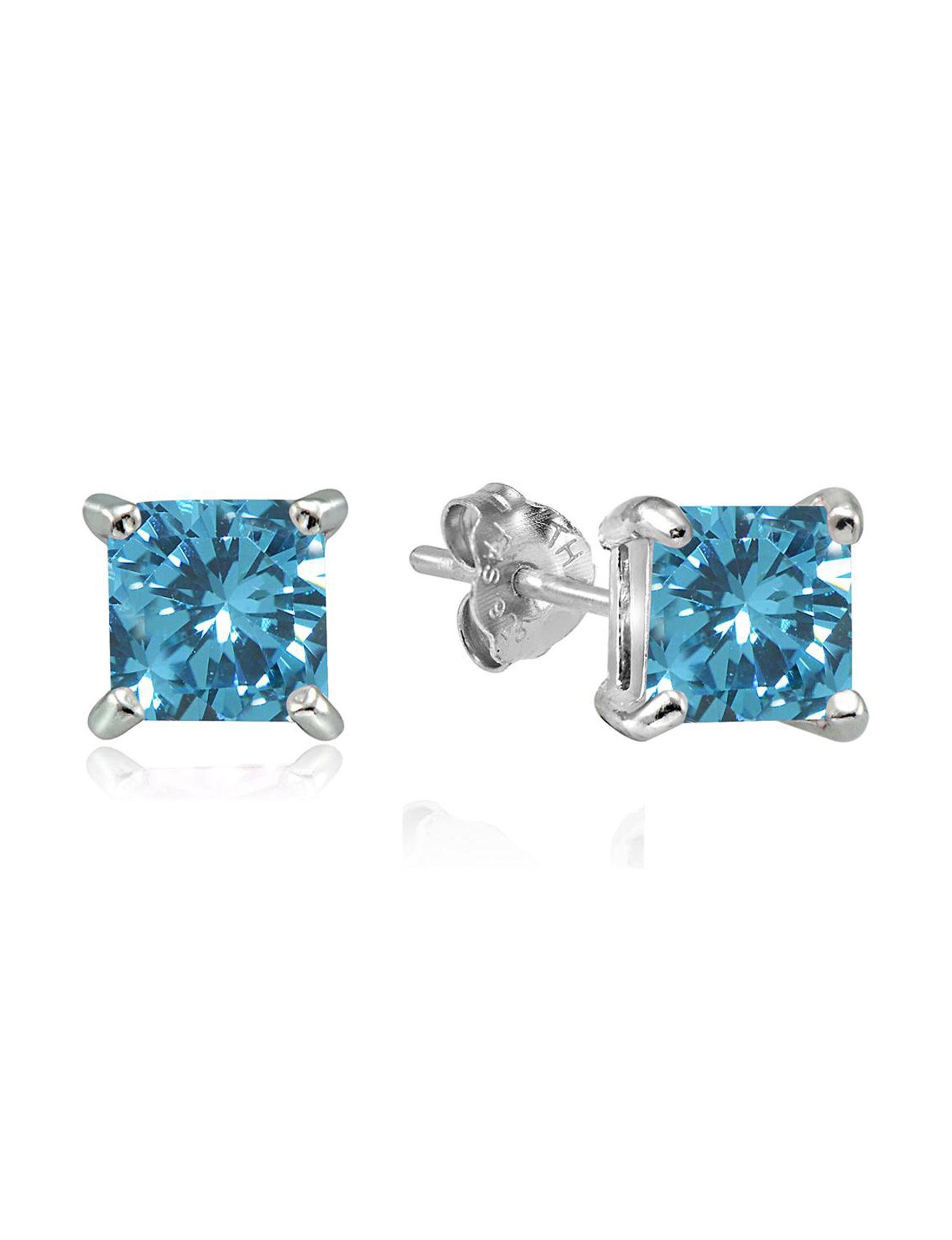 FMC Silver / Aqua Stone Studs Earrings Fine Jewelry