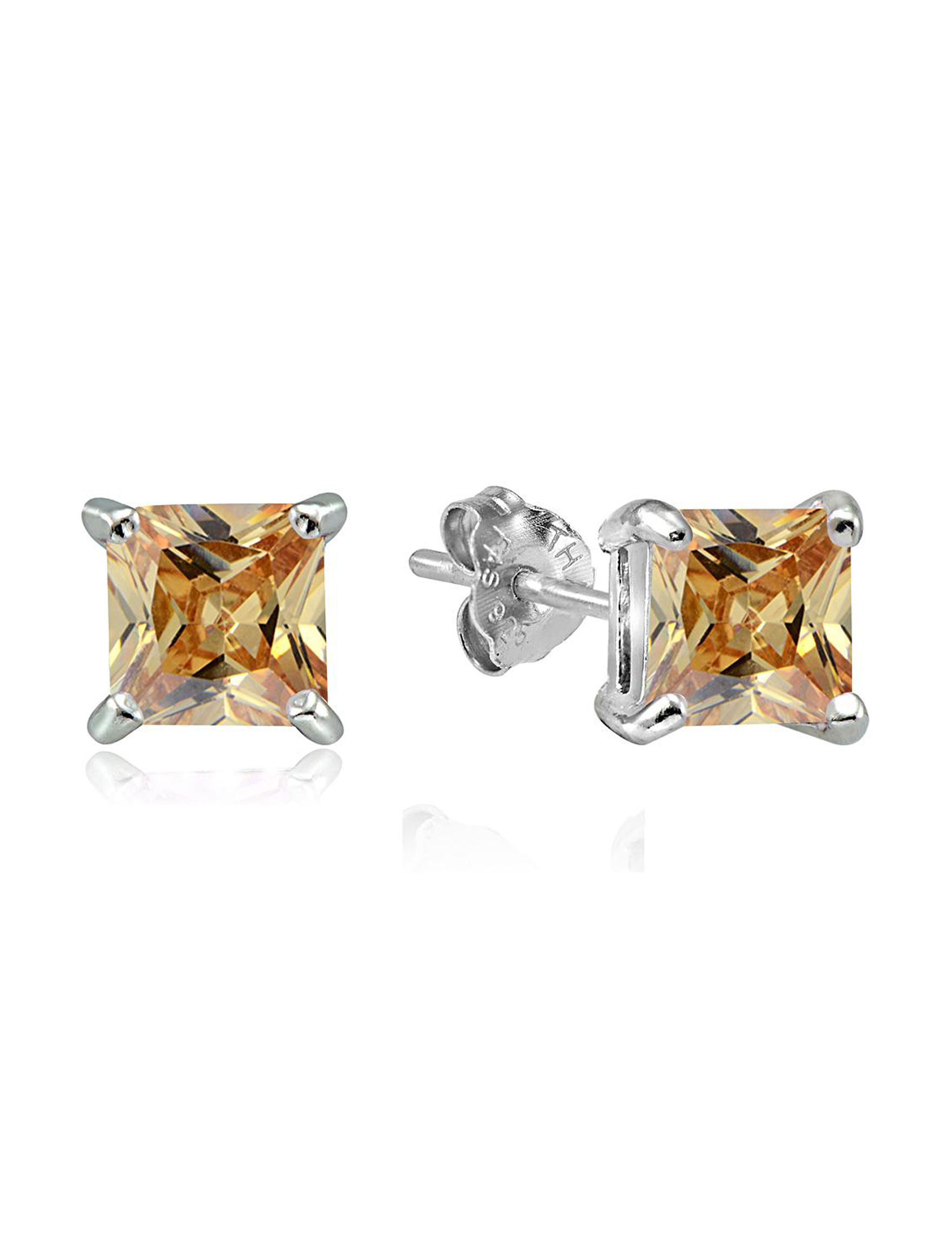 FMC Champagne Stone Studs Earrings Fine Jewelry