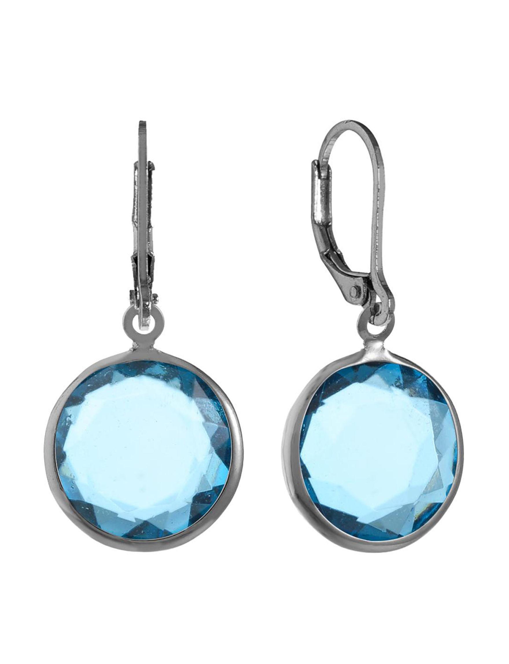 Gloria Vanderbilt Silver / Blue Stone Drops Earrings Fashion Jewelry