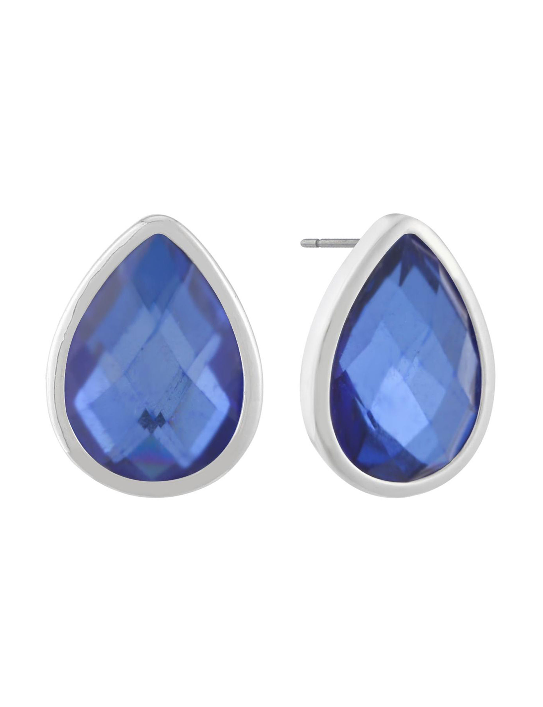 Gloria Vanderbilt Silver / Blue Stone Studs Earrings Fashion Jewelry