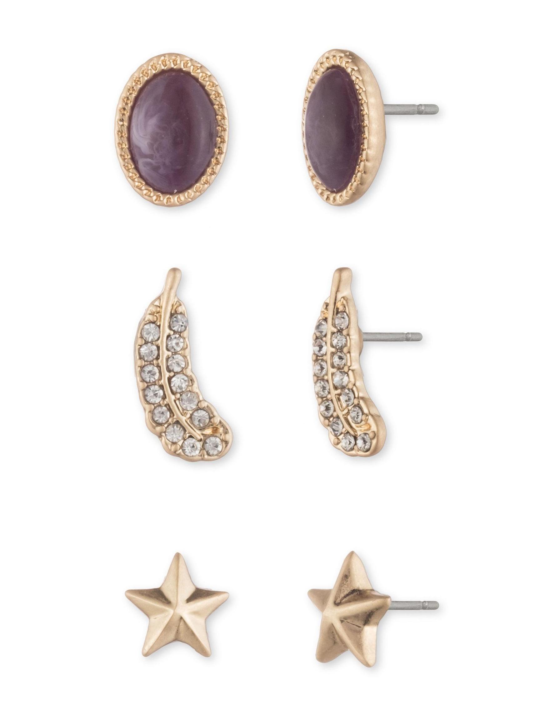 Chaps Burgundy/Gold Studs Earrings Fashion Jewelry