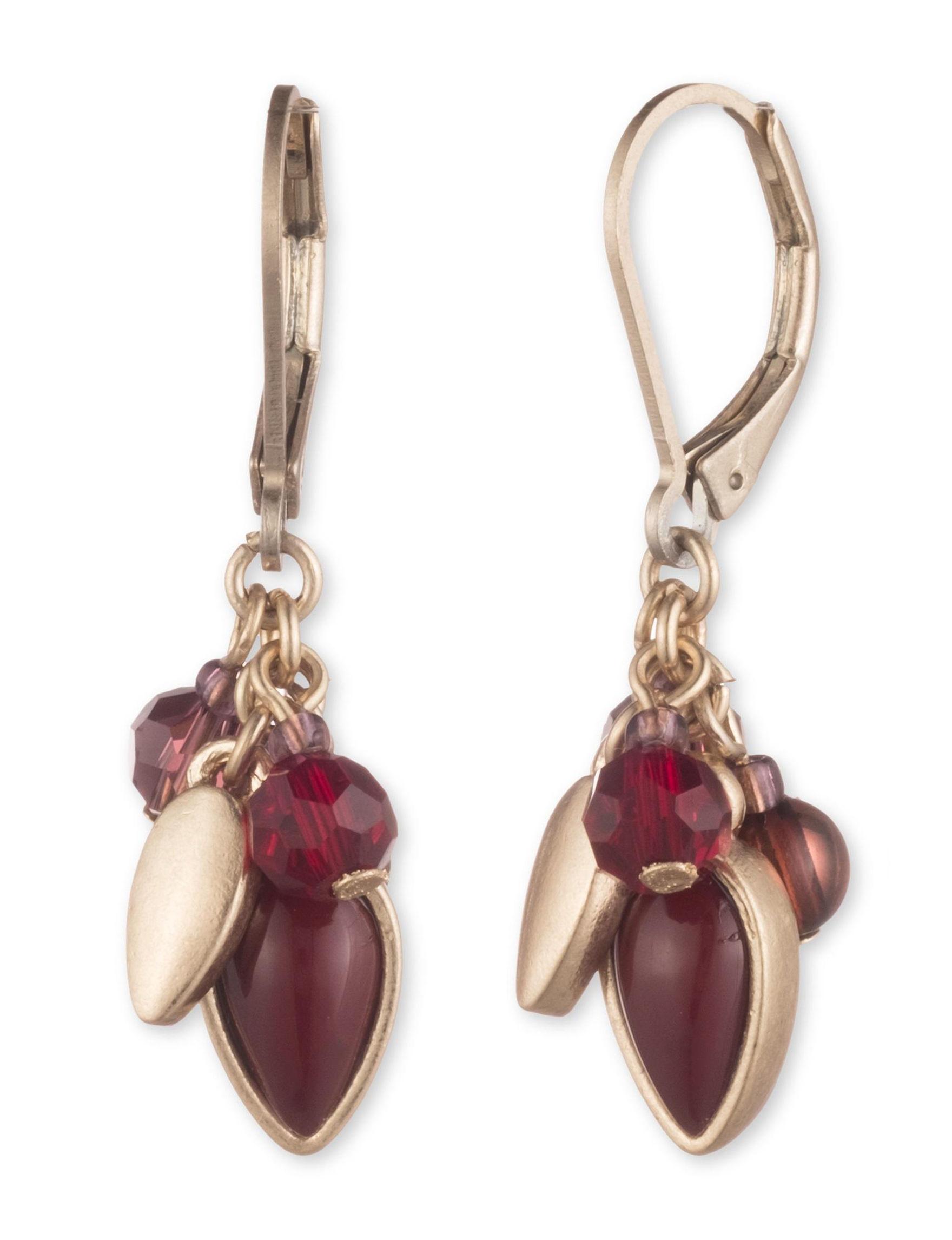 Chaps Burgundy/Gold Drops Earrings Fashion Jewelry