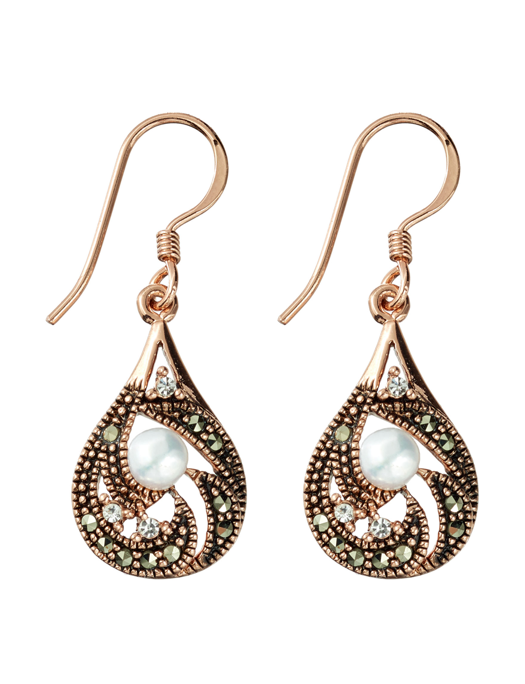 Marsala Gold / Black Drops Earrings Fine Jewelry
