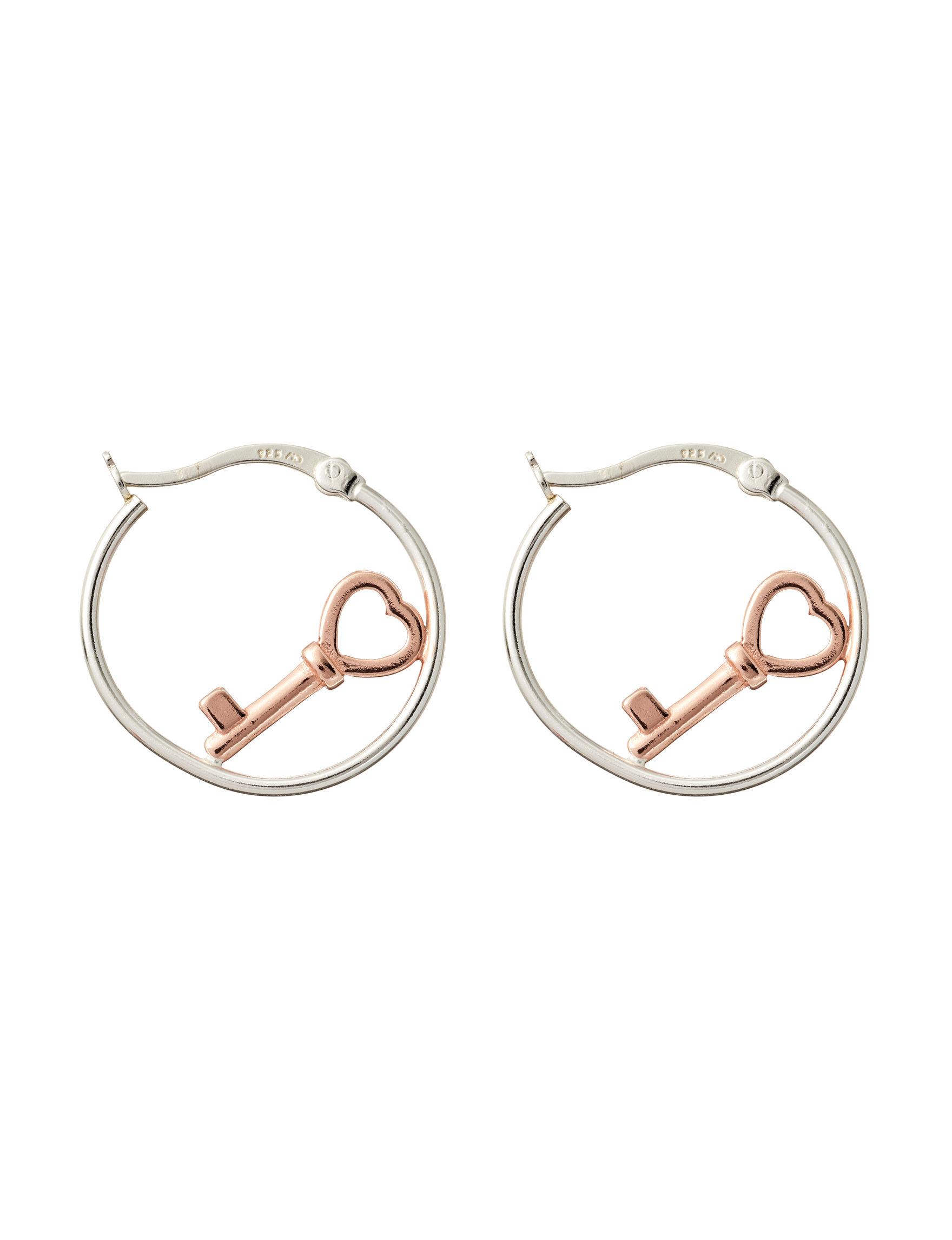 Marsala Two Tone Hoops Earrings Fine Jewelry