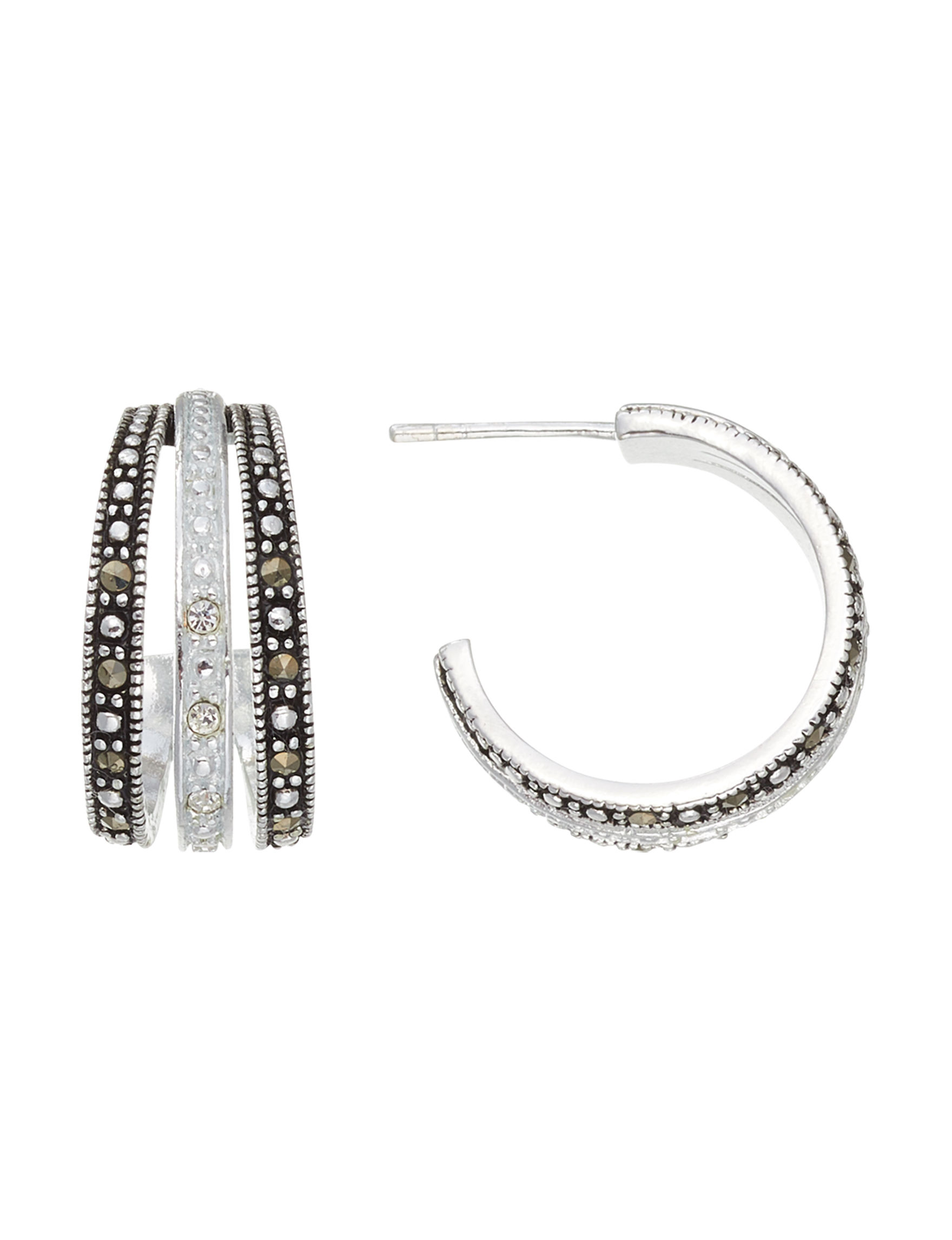 Marsala Marcasite / Crystal Hoops Earrings Fine Jewelry