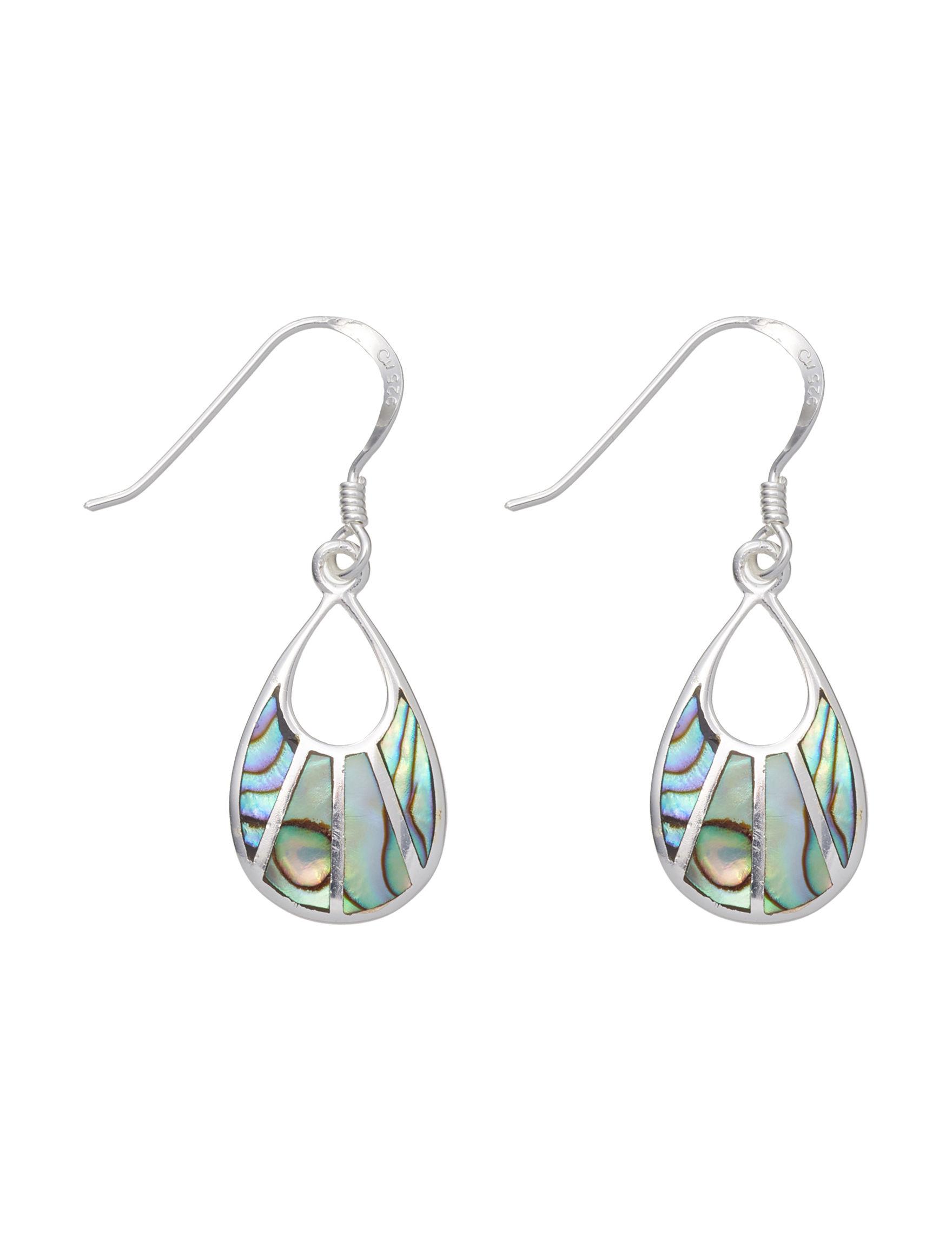 Marsala Green / Silver Drops Earrings Fine Jewelry