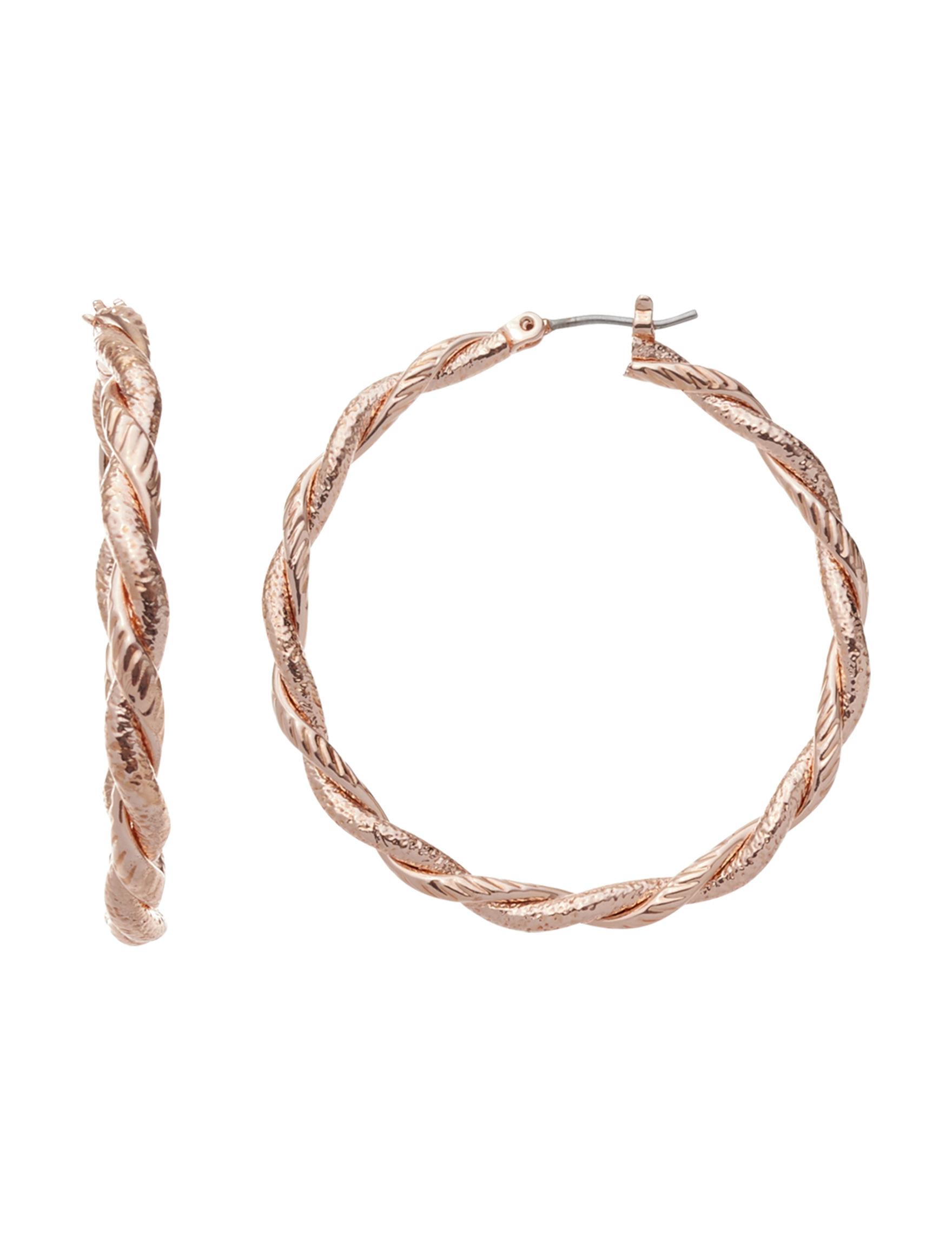 Roman Rose Gold Hoops Earrings Fashion Jewelry