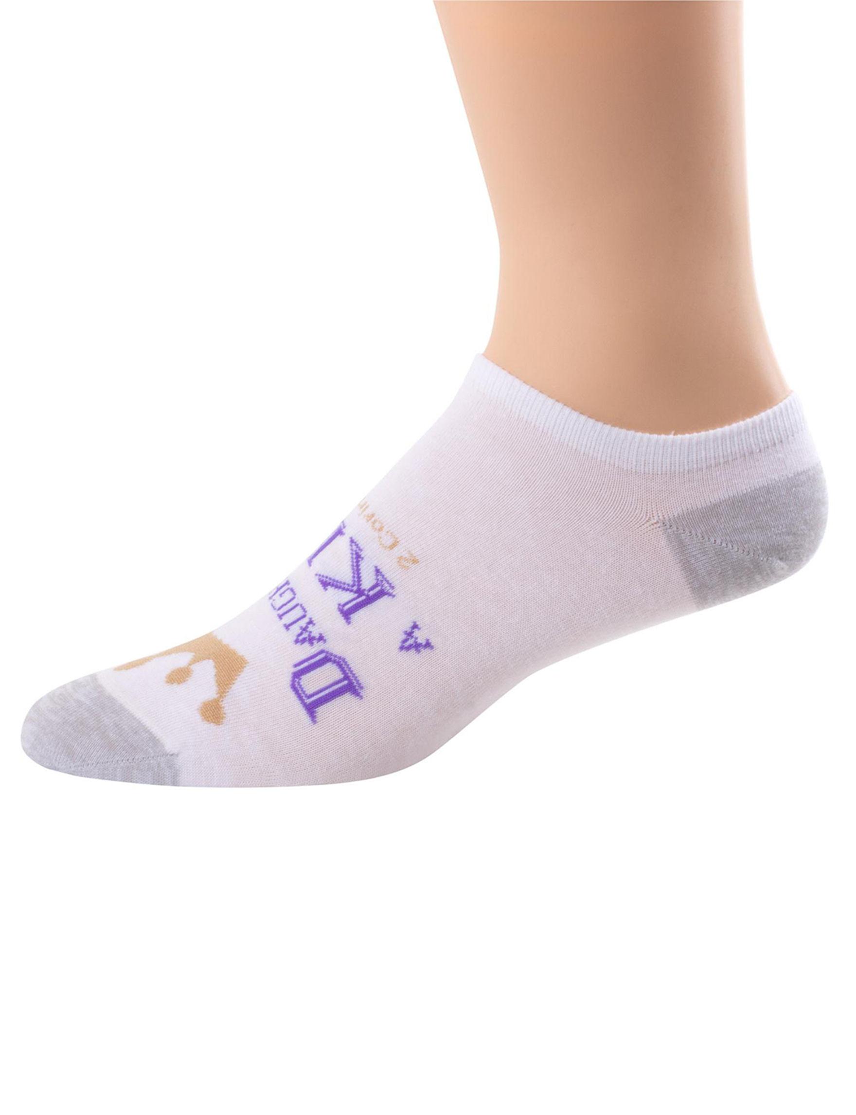 Faith & Hope White / Purple Socks