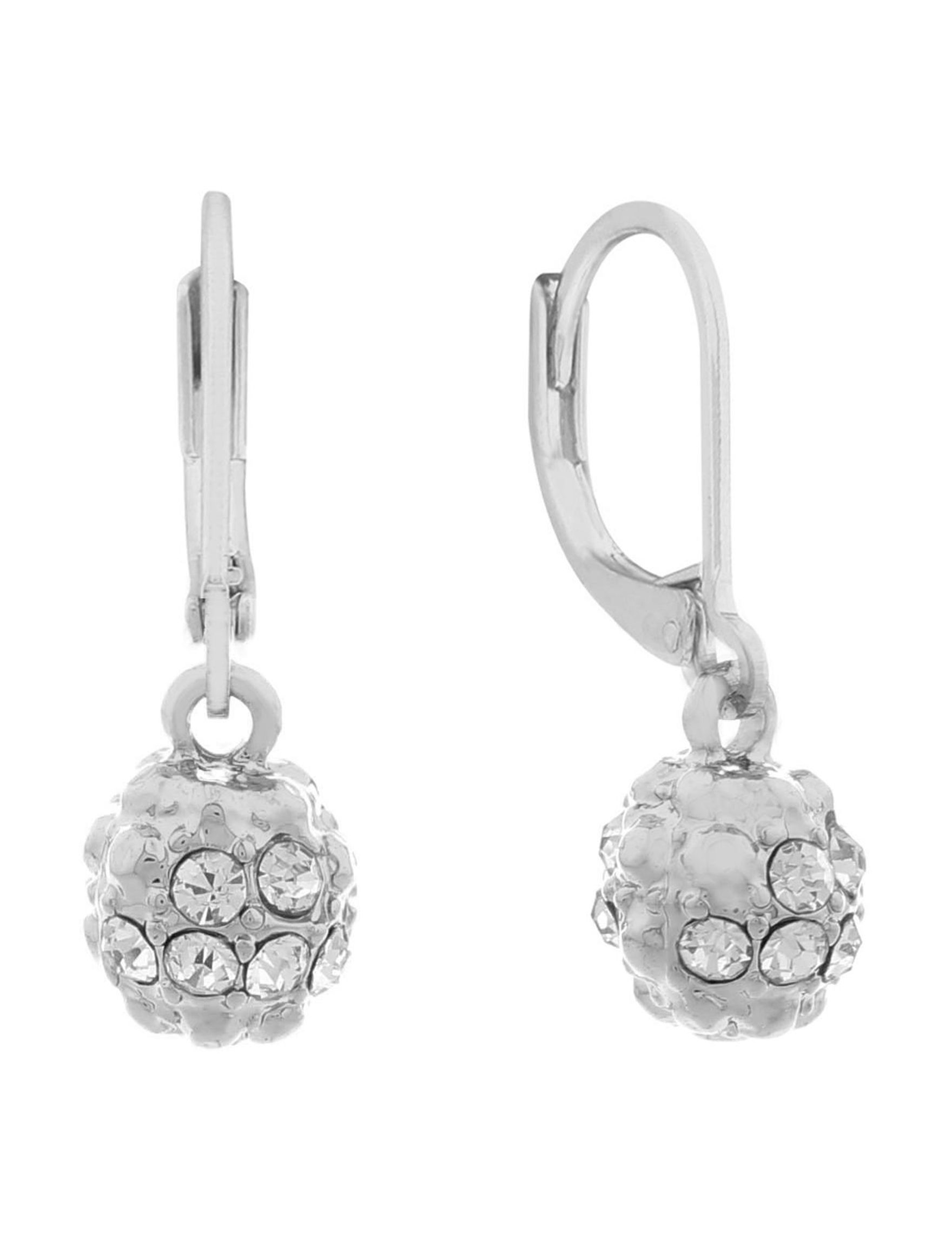 Gloria Vanderbilt Silver / Crystal Drops Earrings Fashion Jewelry