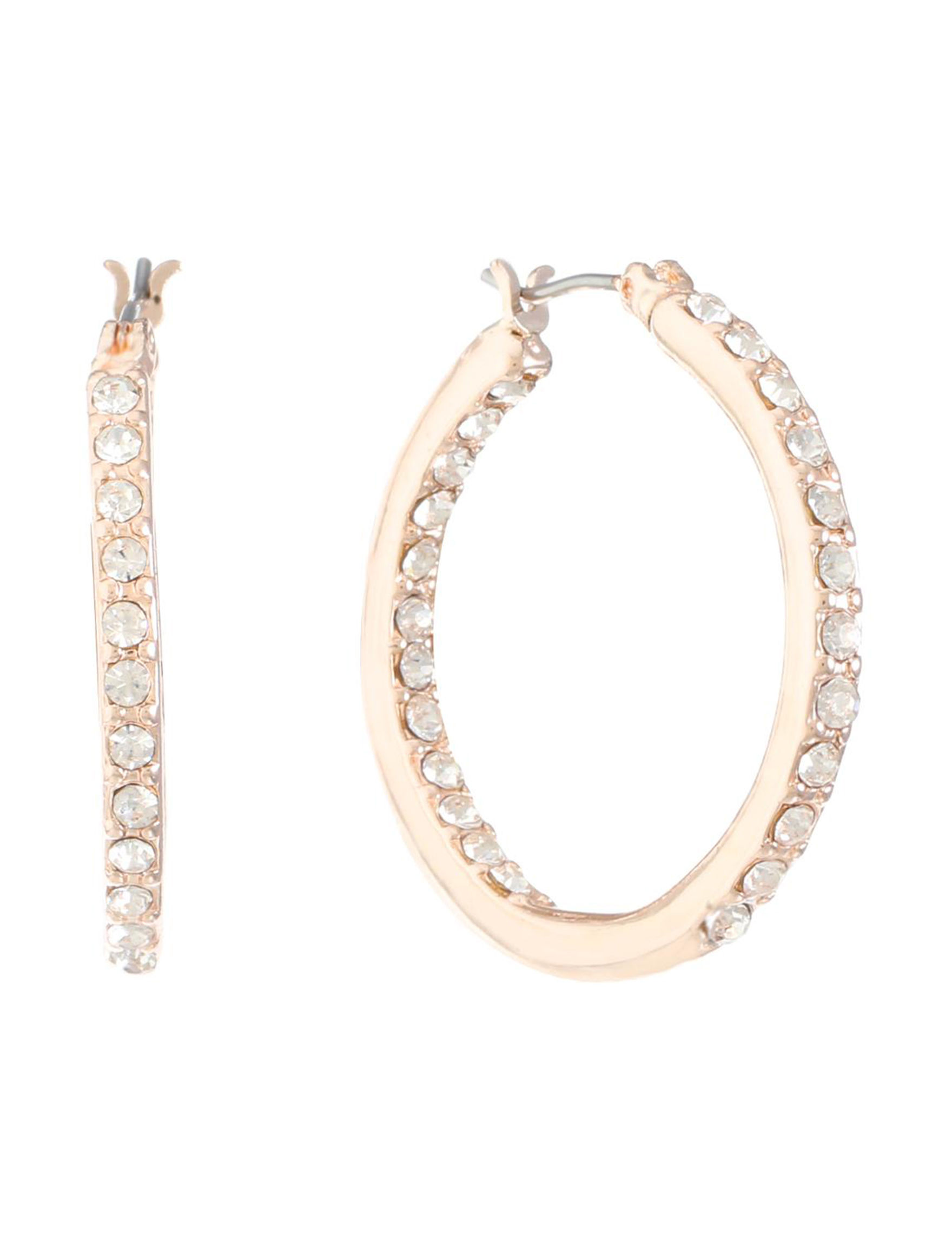 Gloria Vanderbilt Rose Gold Hoops Earrings Fashion Jewelry