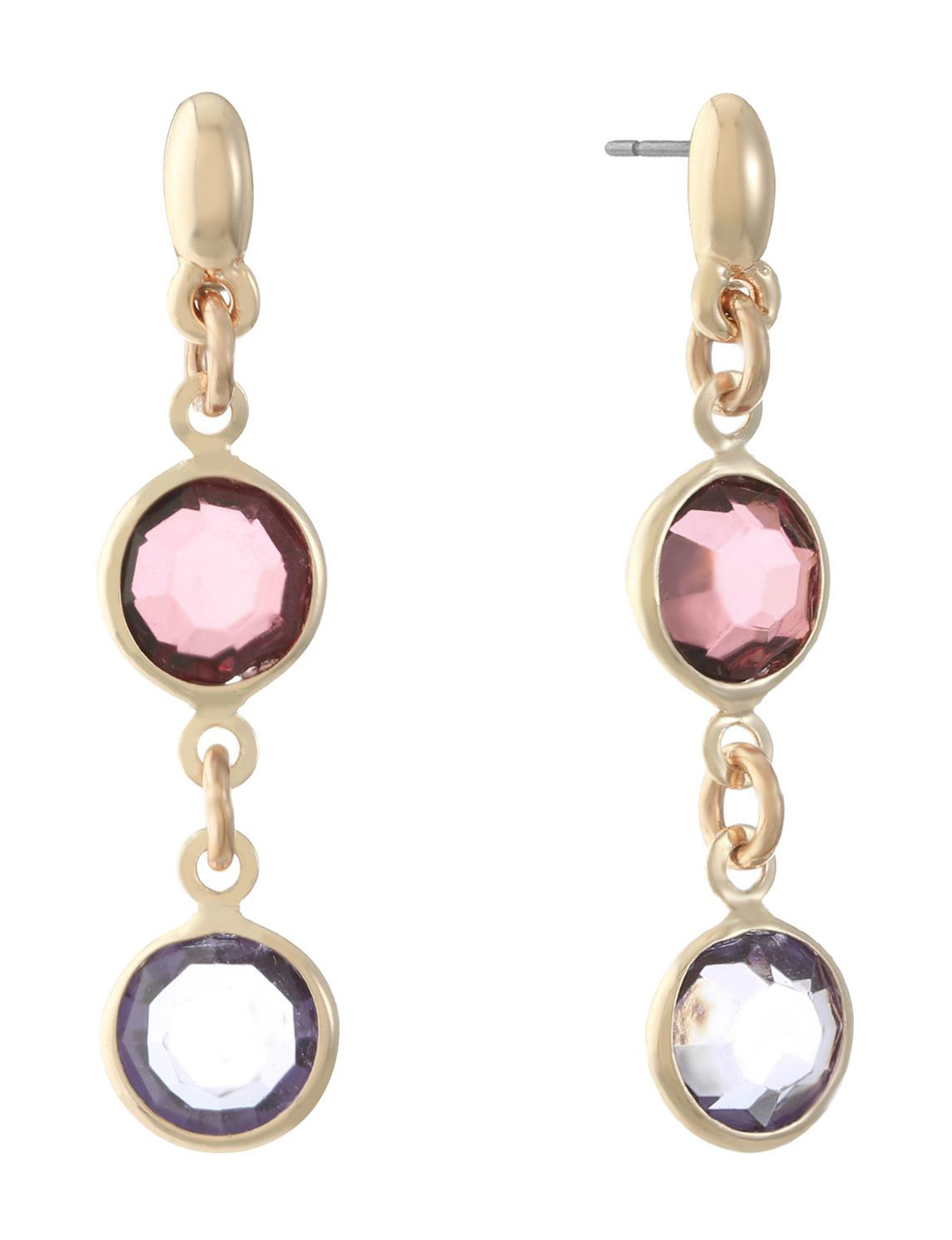 Gloria Vanderbilt Pink / Gold Drops Earrings Fashion Jewelry