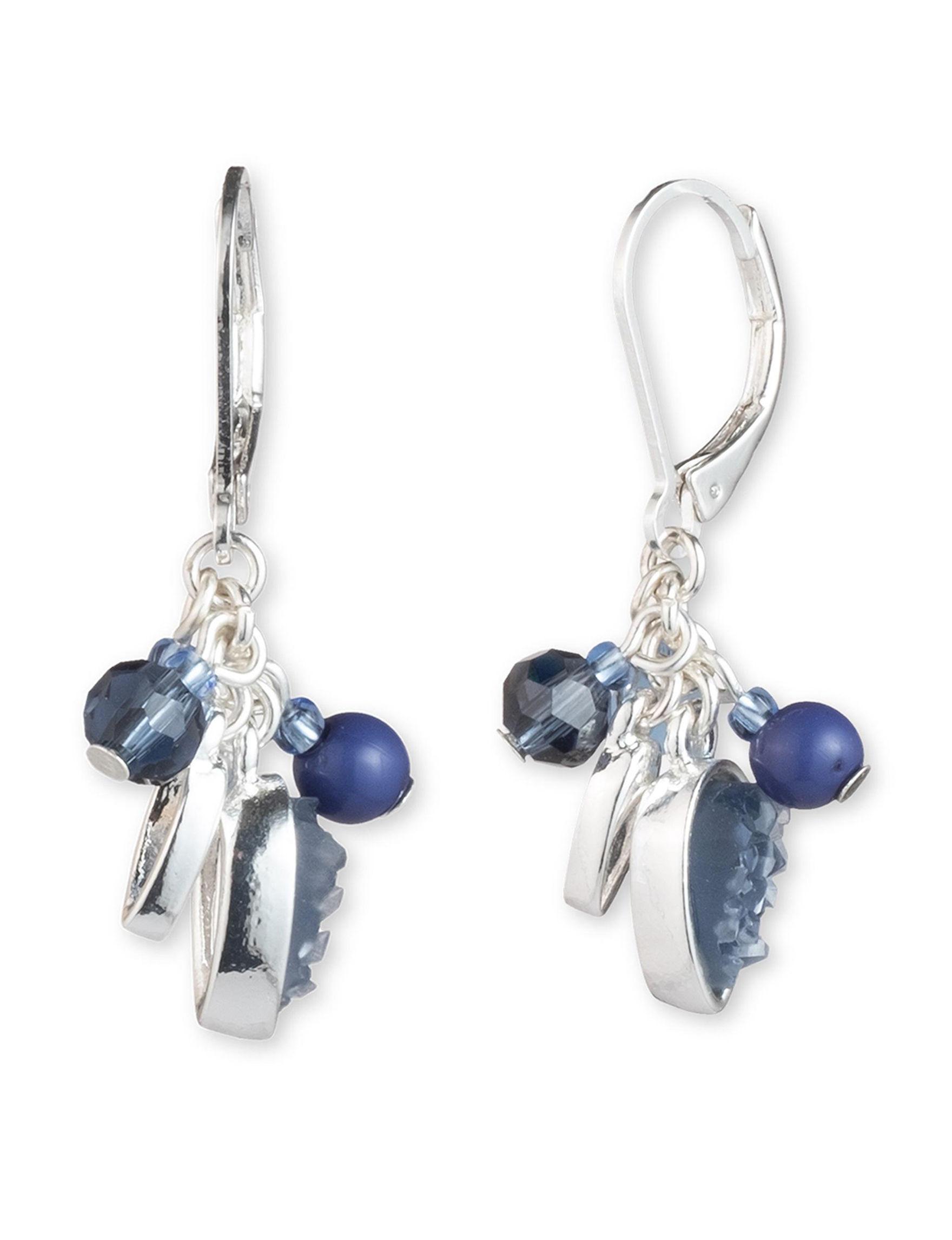 Chaps Blue Drops Earrings Fashion Jewelry