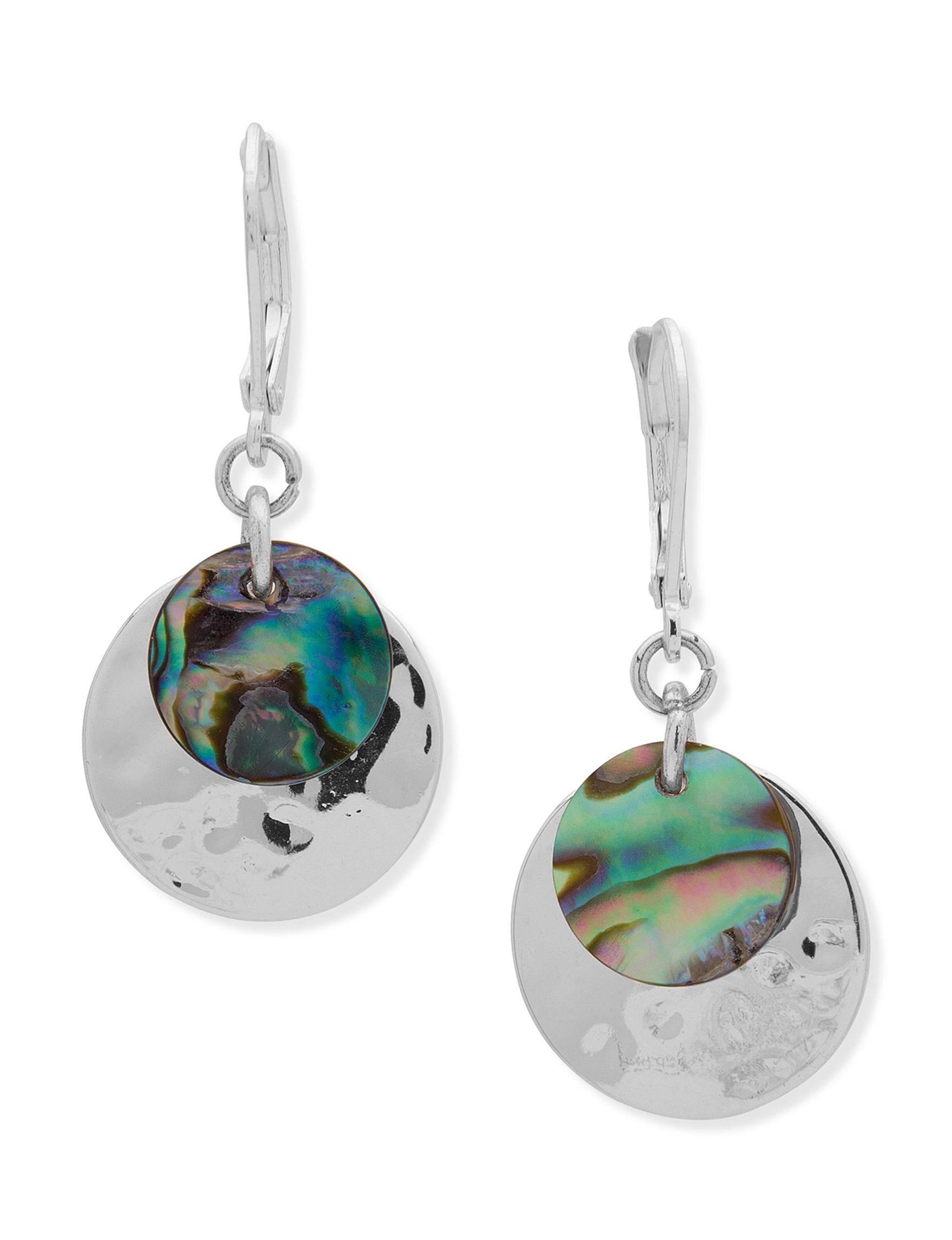 Chaps Silver / Abalone Drops Earrings Fashion Jewelry