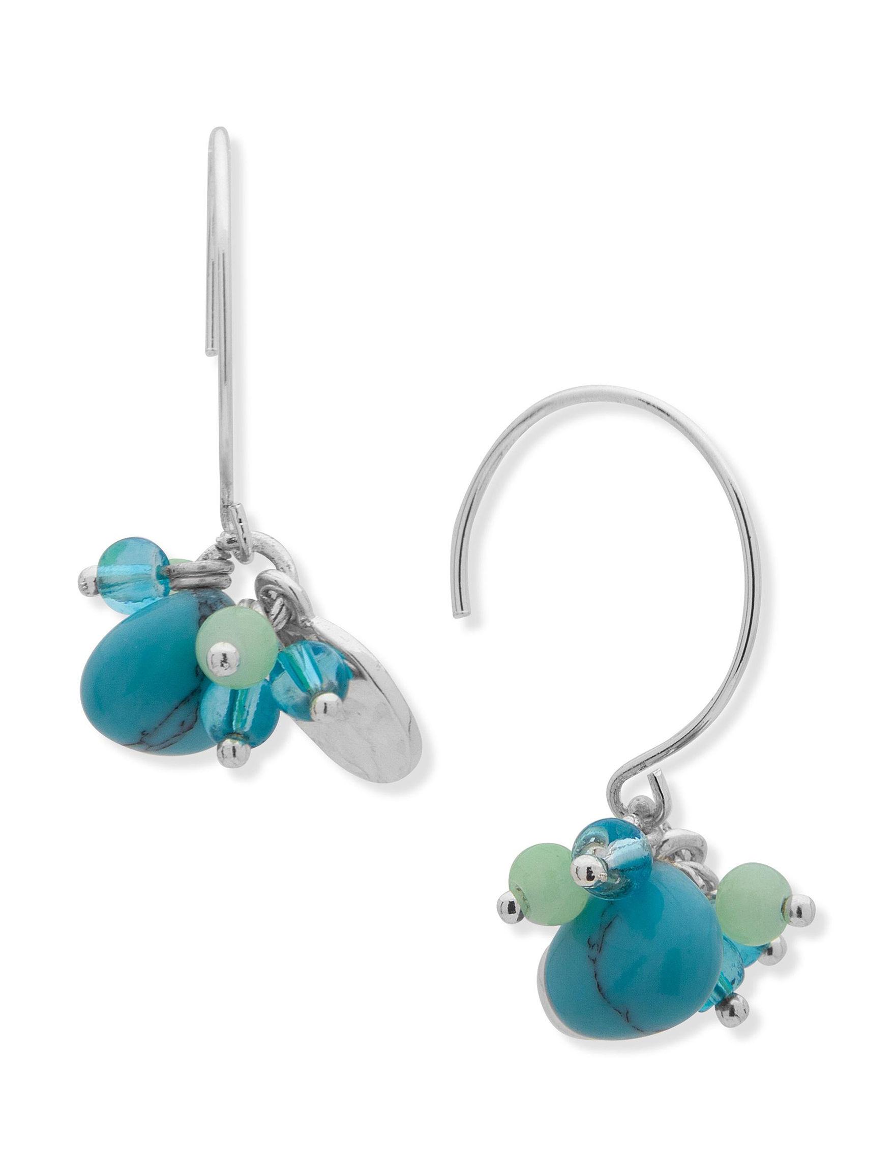 Chaps Blue / Green Drops Earrings Fashion Jewelry