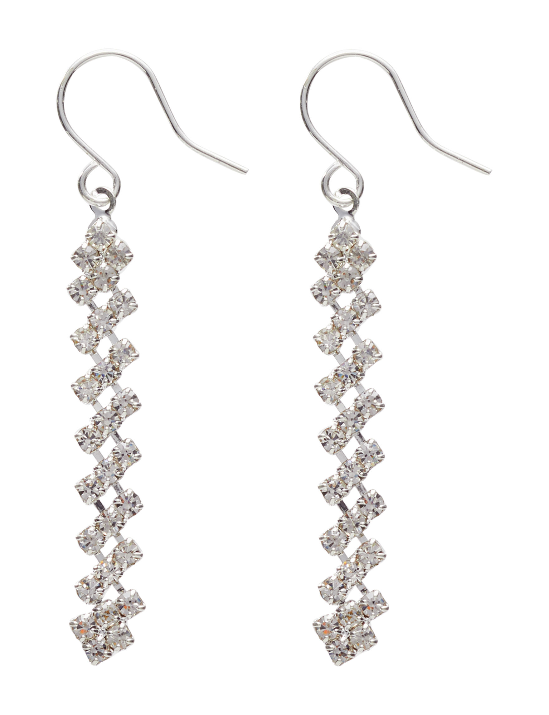 Via Roma Silver / Crystal Drops Earrings Fashion Jewelry