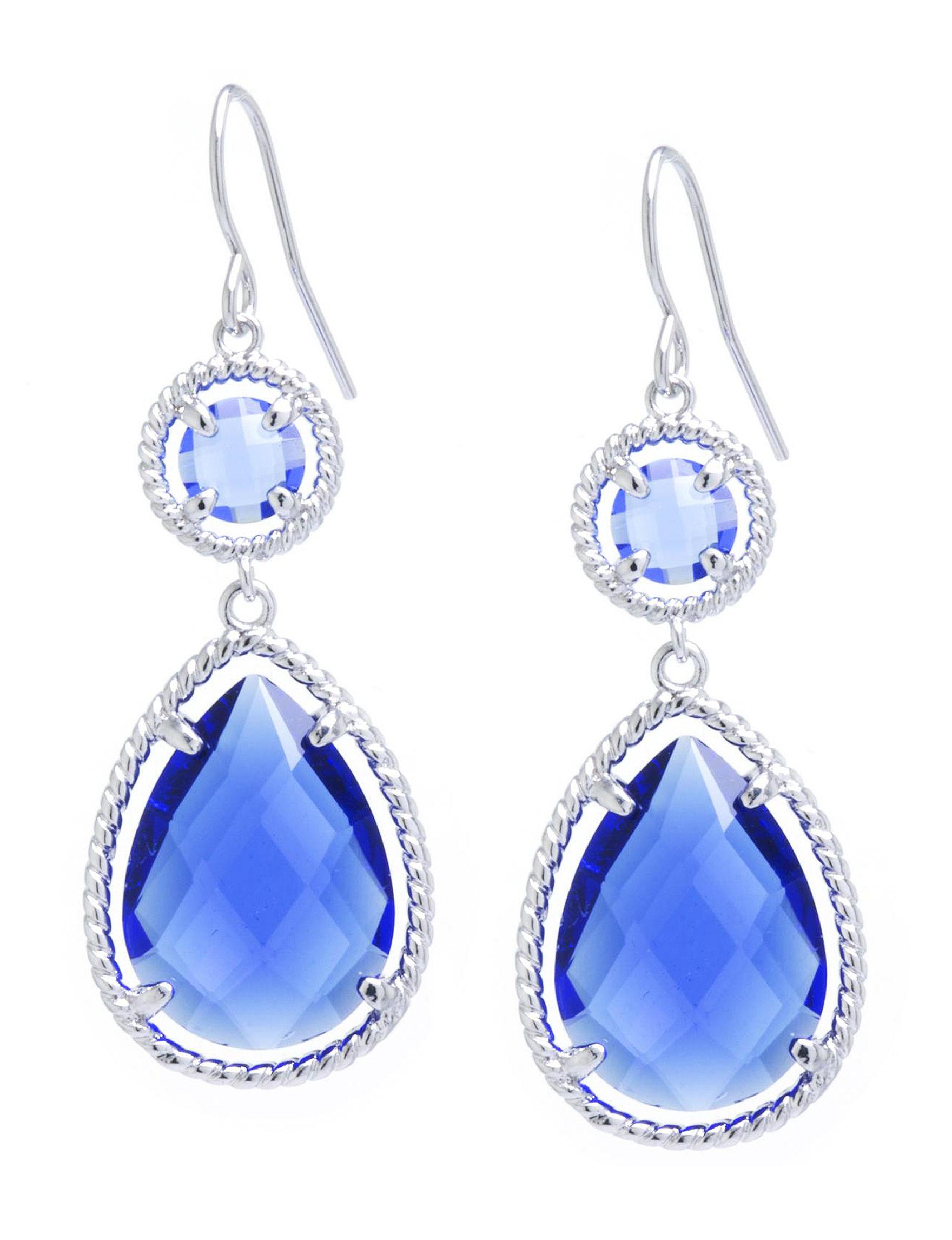 Athra Silver / Blue Stone Drops Earrings Fine Jewelry