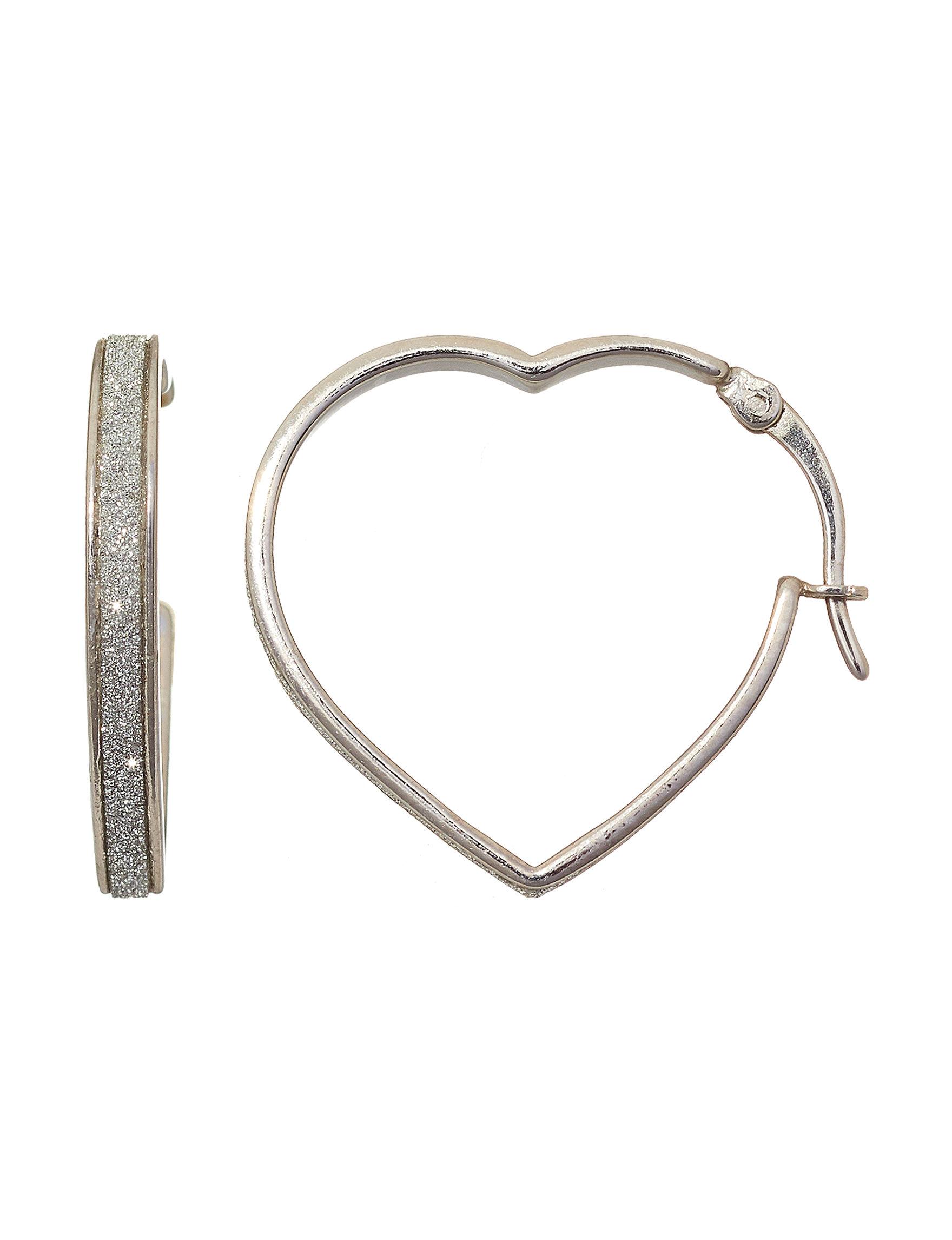 NES Silver / Crystal Hoops Earrings Fine Jewelry