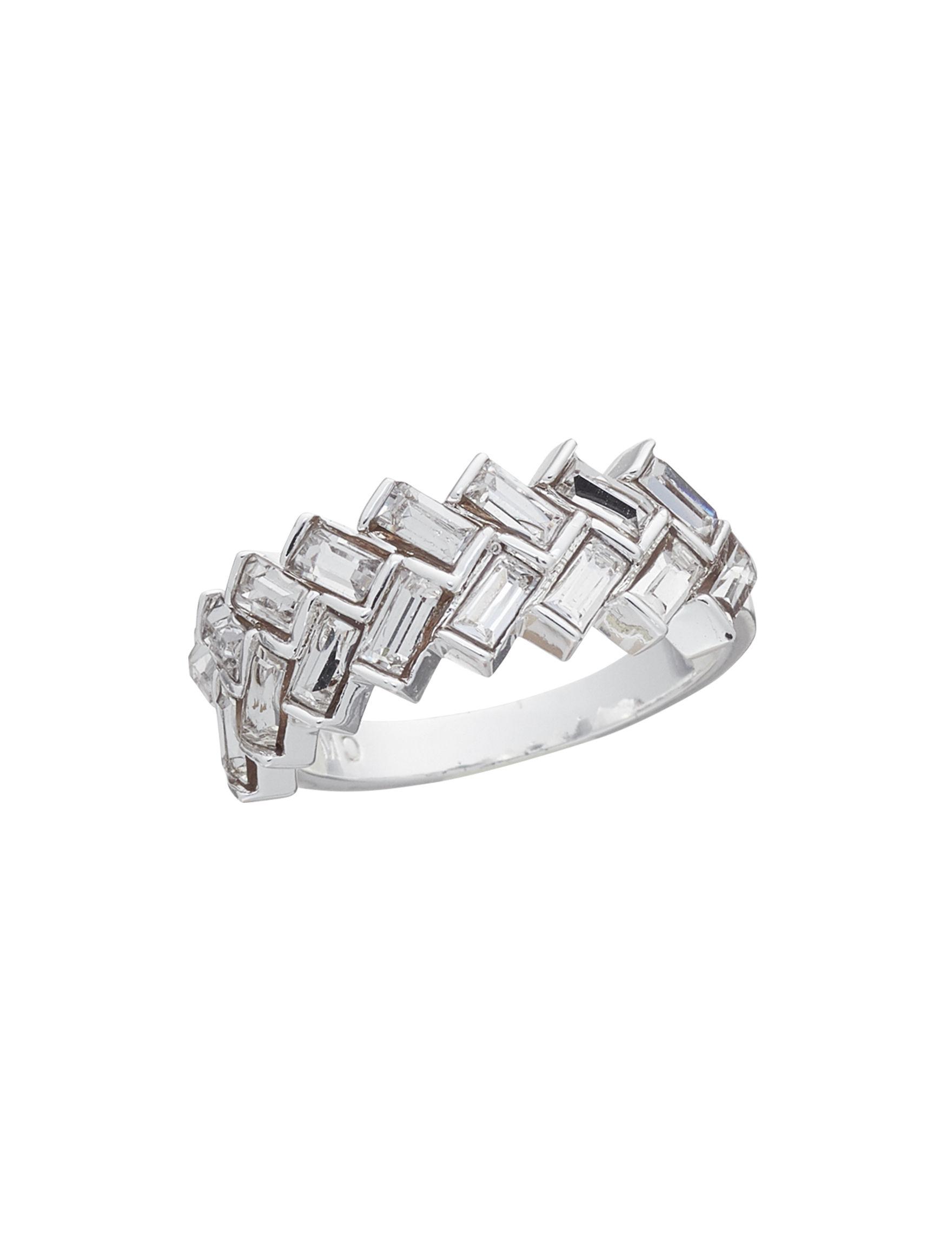 Marsala Silver / Crystal Rings Fine Jewelry