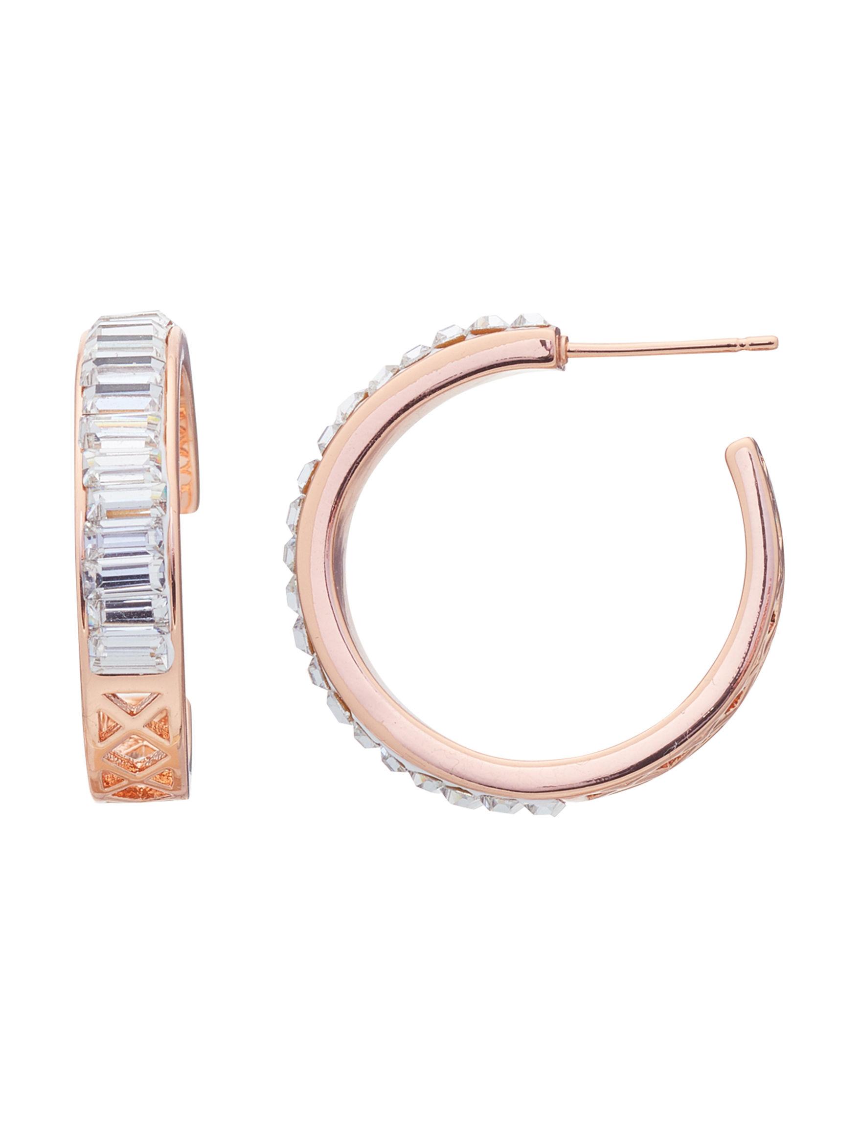 Marsala Rose Gold / Crystal Hoops Earrings Fine Jewelry