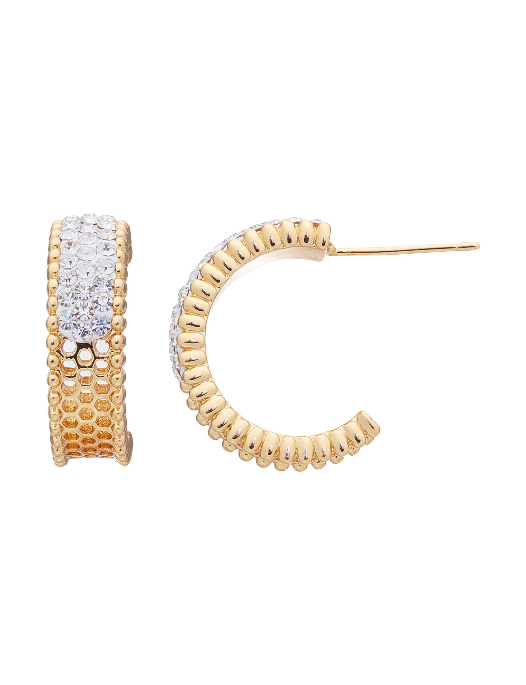 Marsala Gold / Crystal Hoops Earrings Fine Jewelry