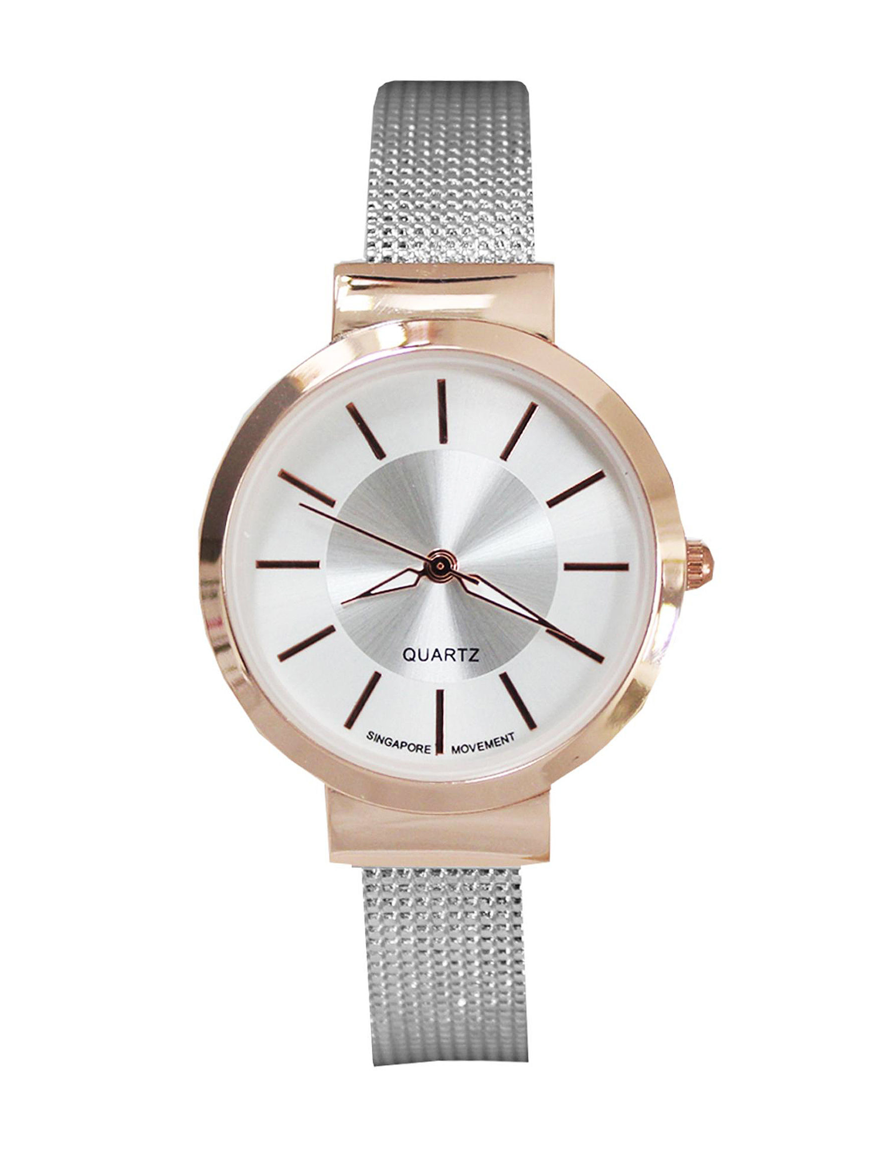 Global Time Silver / Rose Gold Fashion Watches