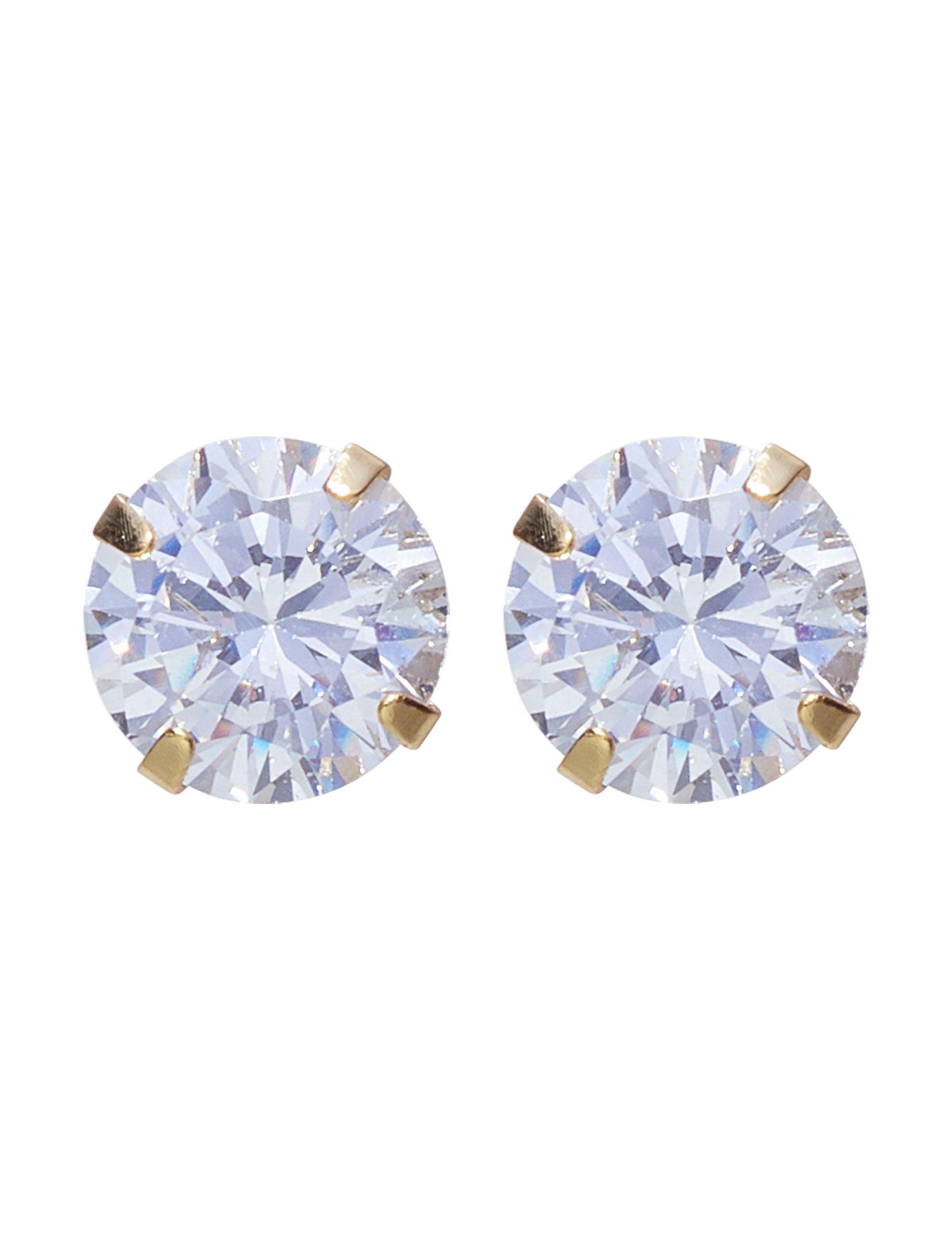 Marsala Gold / Crystal Studs Fine Jewelry