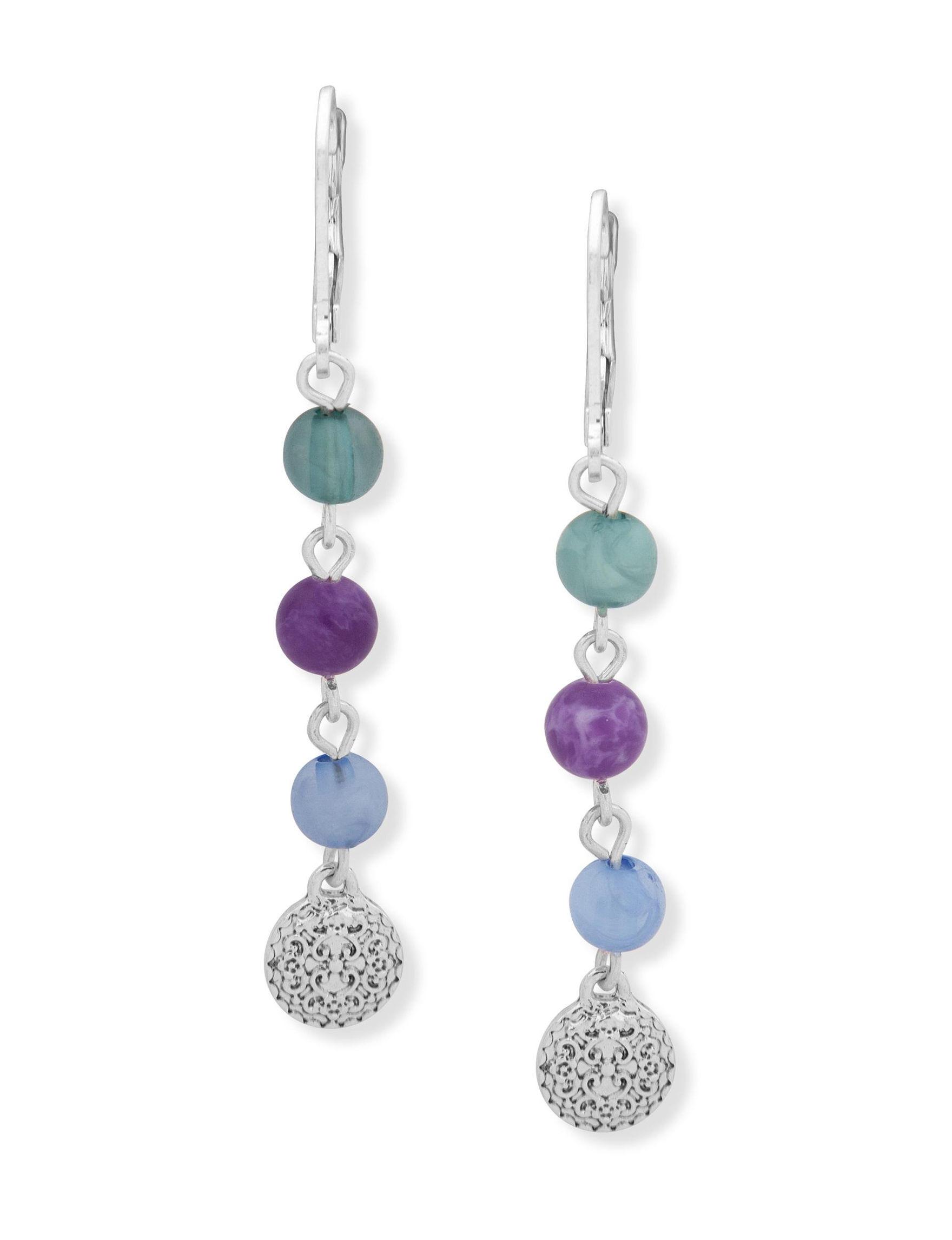 Chaps Silver Multi Stone Drops Earrings Fashion Jewelry