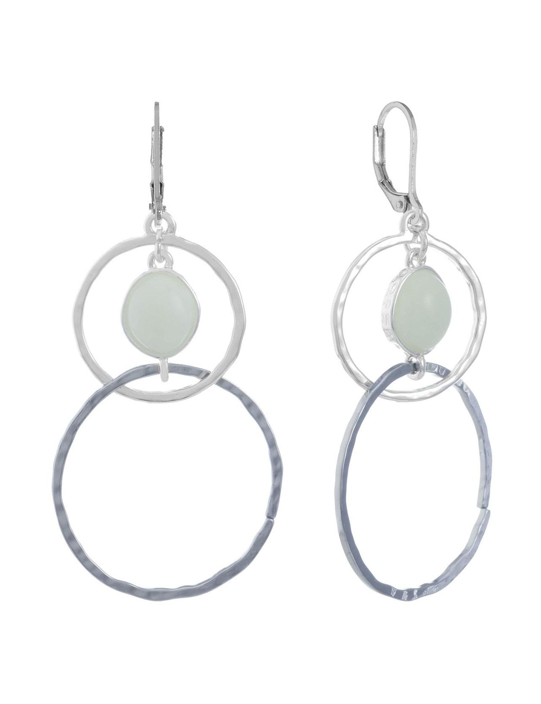 Chaps Silver / Green Stone Drops Earrings Fashion Jewelry