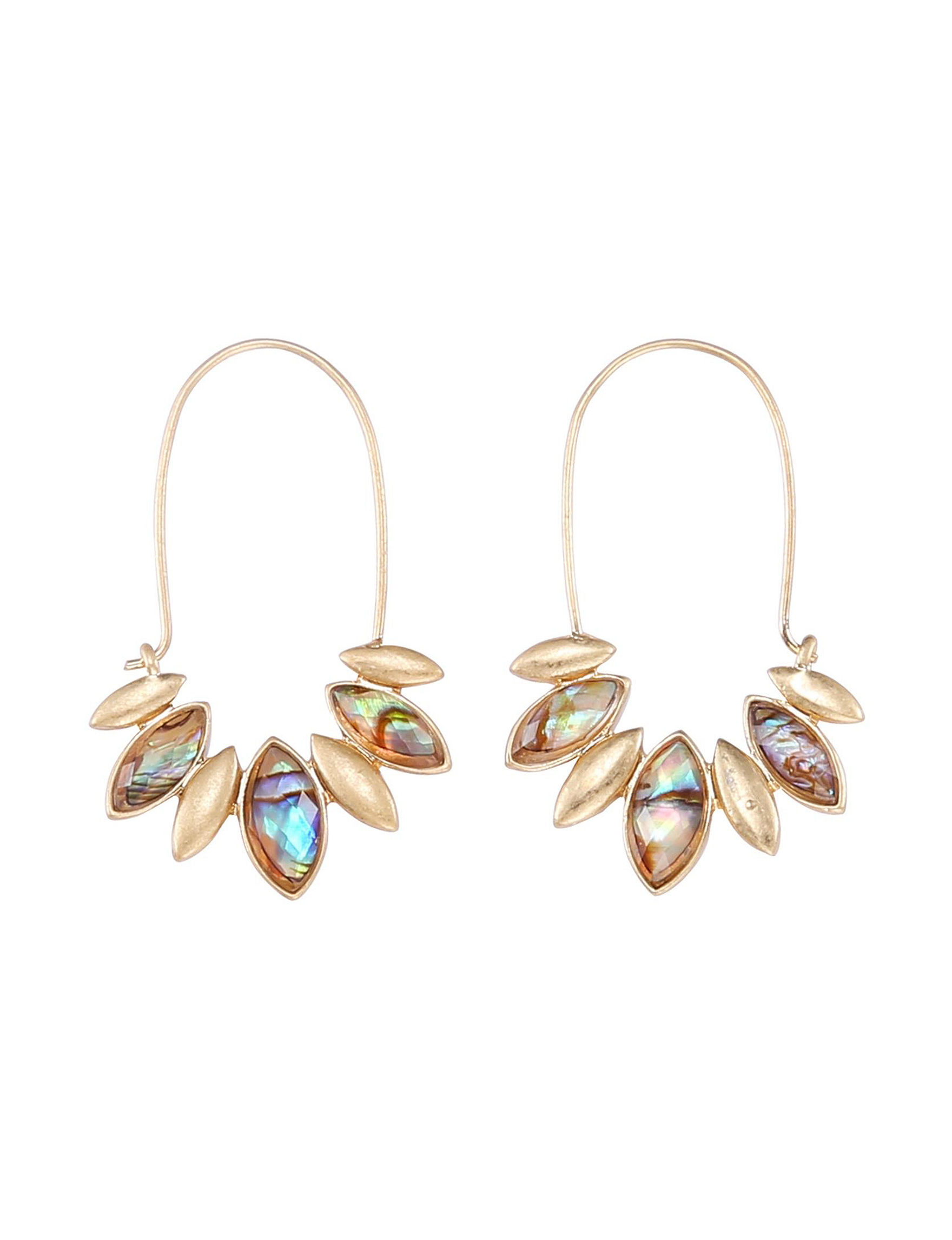 Chaps Gold / Abalone Drops Earrings Fashion Jewelry
