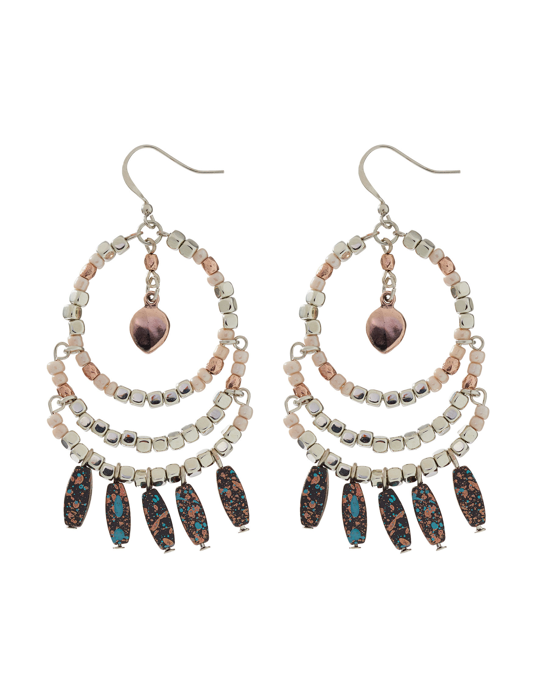Hannah Turquoise / Brown Drops Earrings Fashion Jewelry