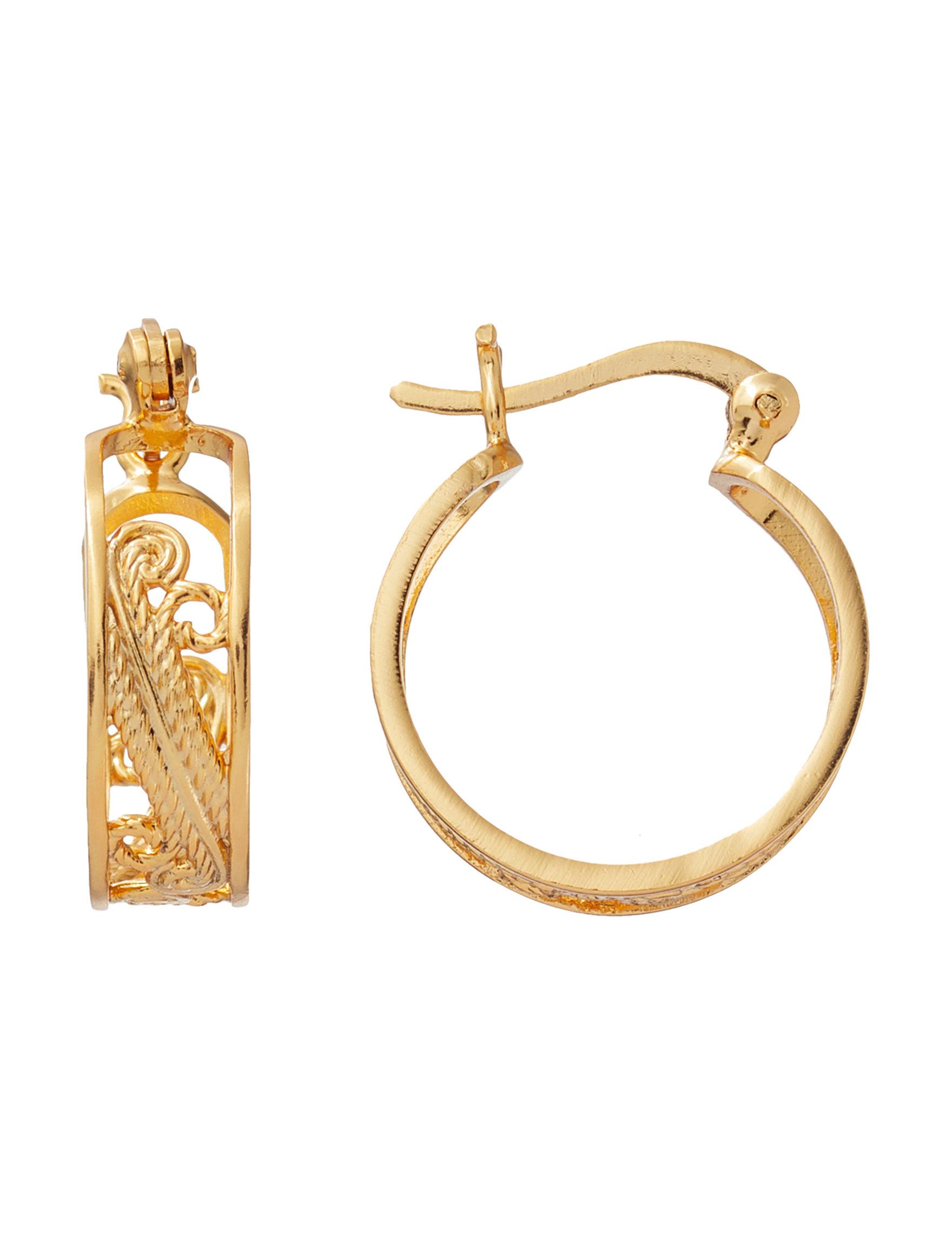 Danecraft Gold Hoops Earrings Fine Jewelry