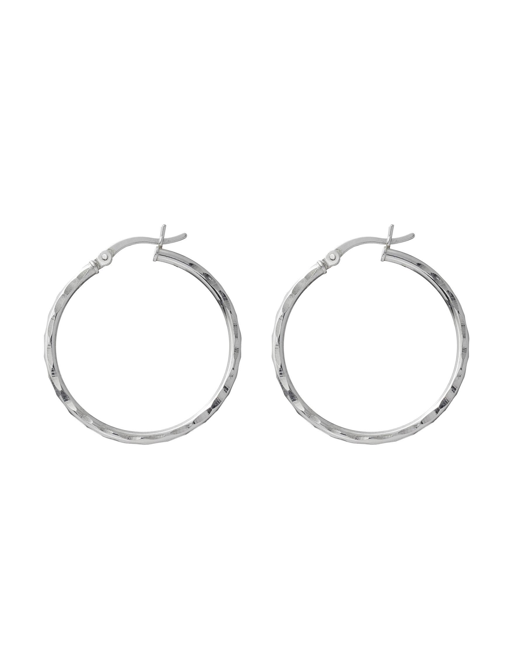 Marsala Sterling Silver Hoops Earrings Fine Jewelry
