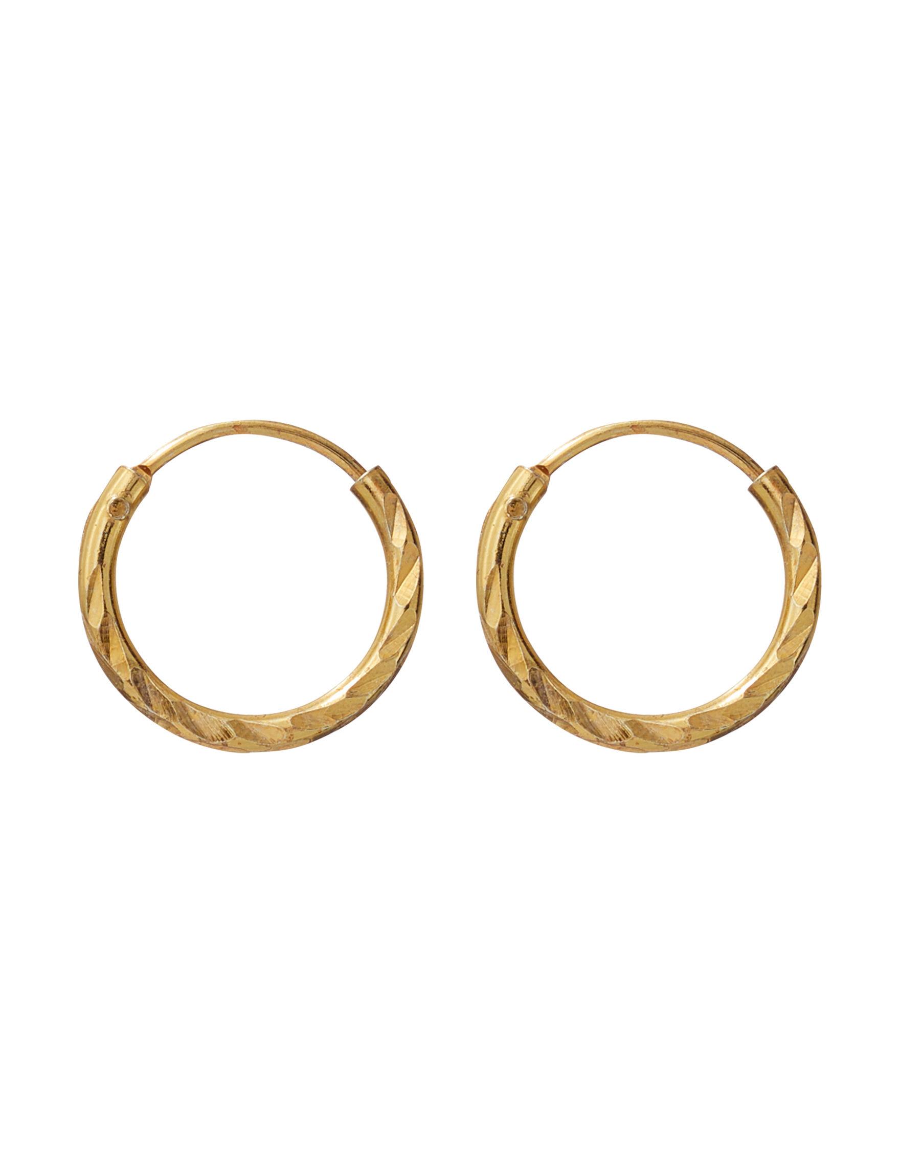 Marsala Gold Hoops Earrings Fine Jewelry