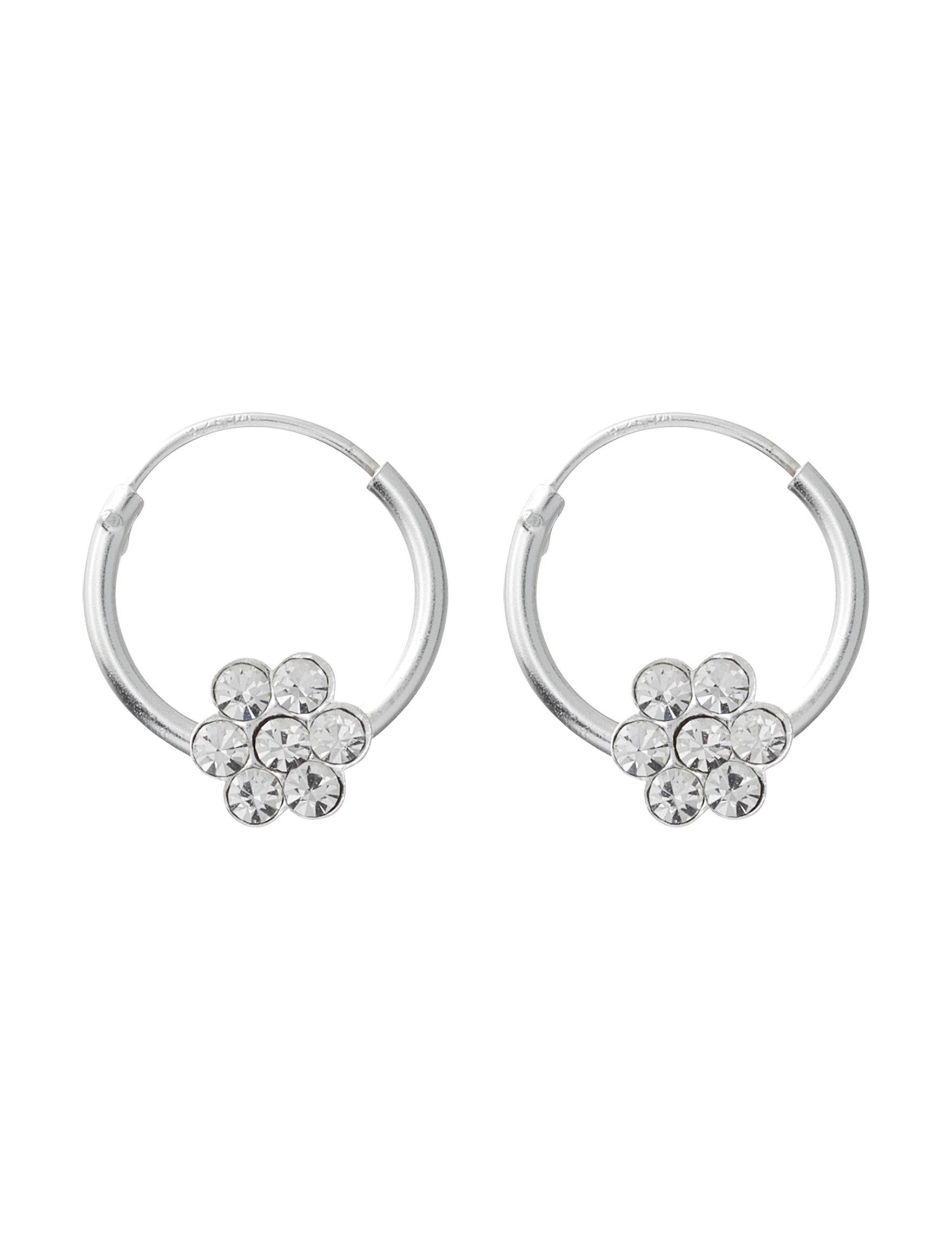 Marsala Silver / Crystal Hoops Earrings Fine Jewelry
