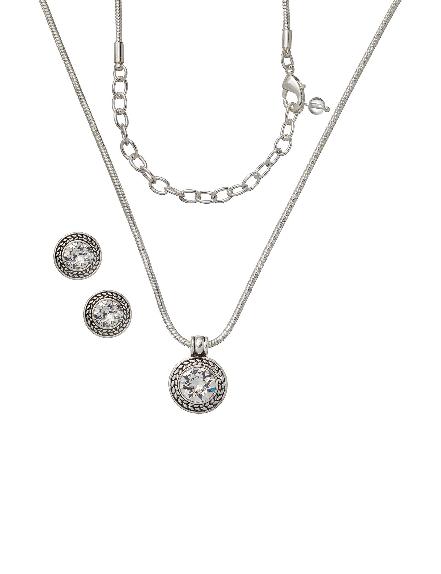 Napier Silver / Crystal Jewelry Sets Fashion Jewelry
