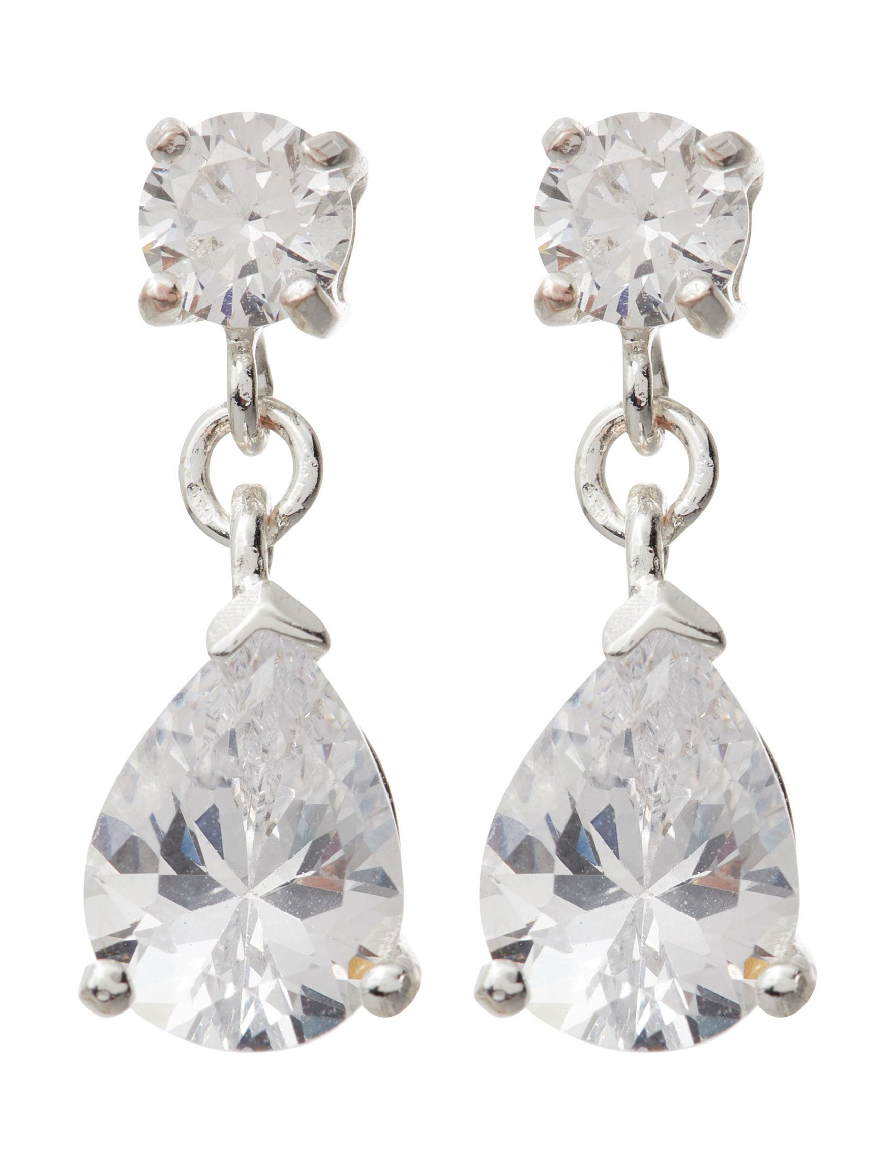 Marsala Silver / Crystal Drops Earrings Fine Jewelry