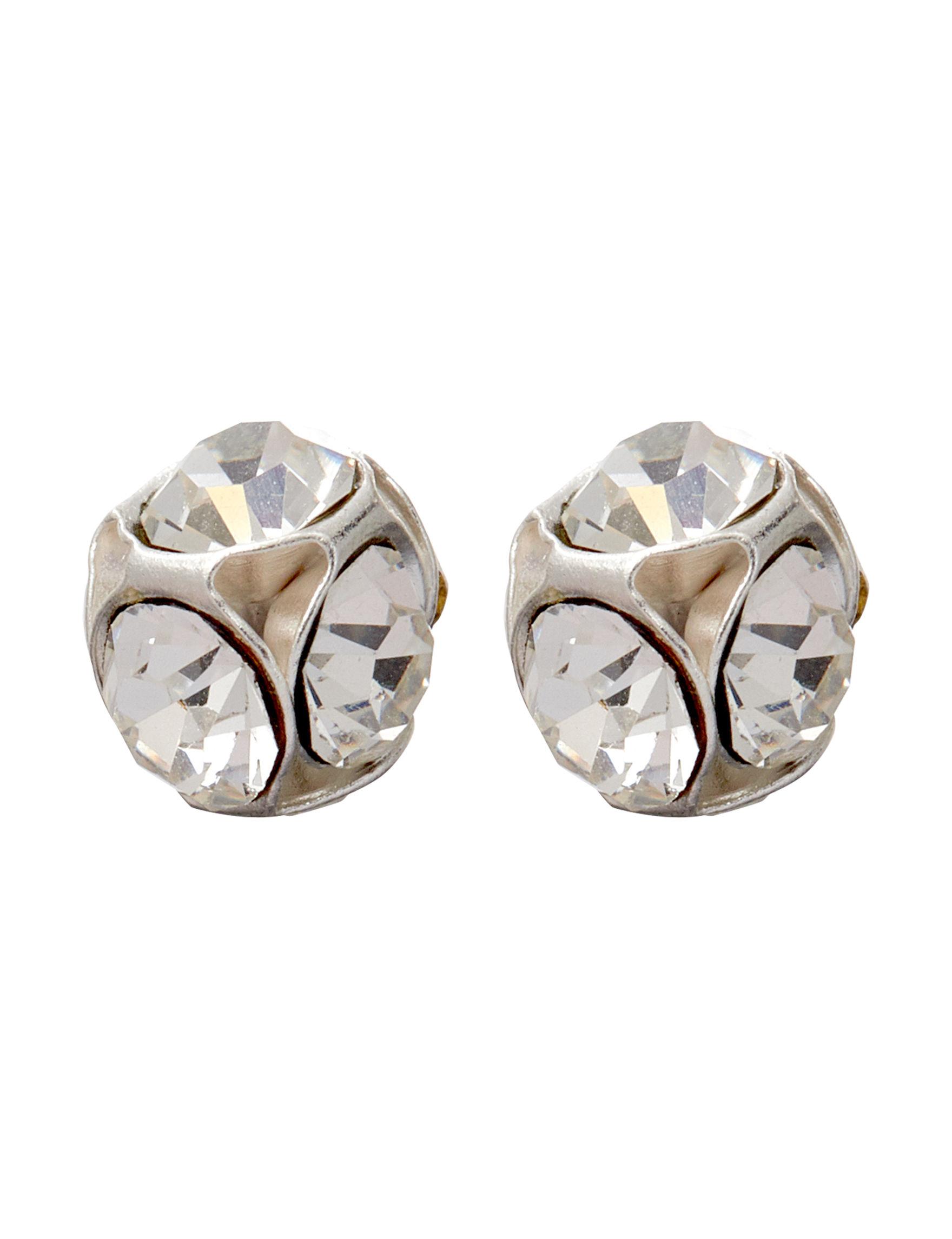 Marsala Silver / Crystal Studs Earrings Fine Jewelry