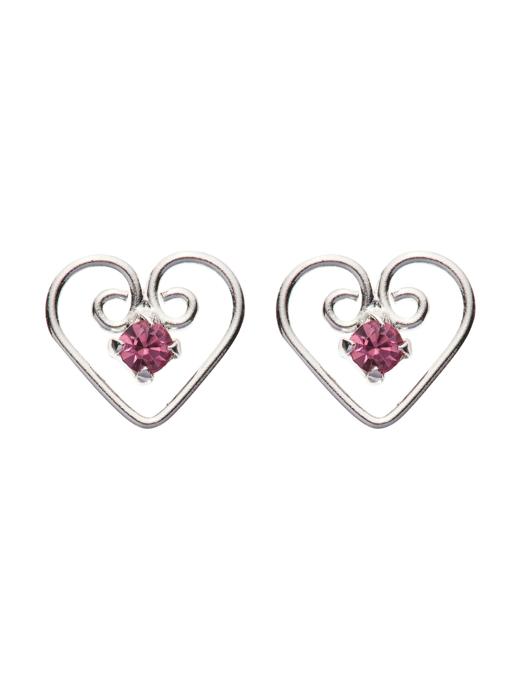 Marsala Silver / Pink Studs Earrings Fine Jewelry