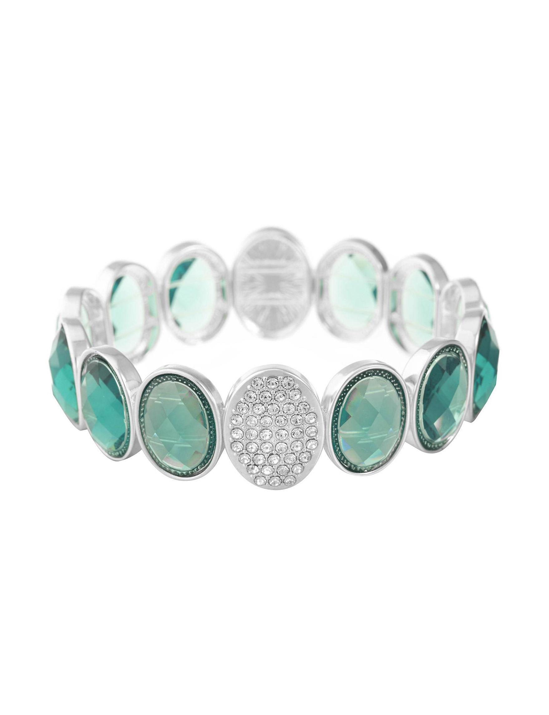 Gloria Vanderbilt Silver / Aqua Stone Bracelets Fashion Jewelry