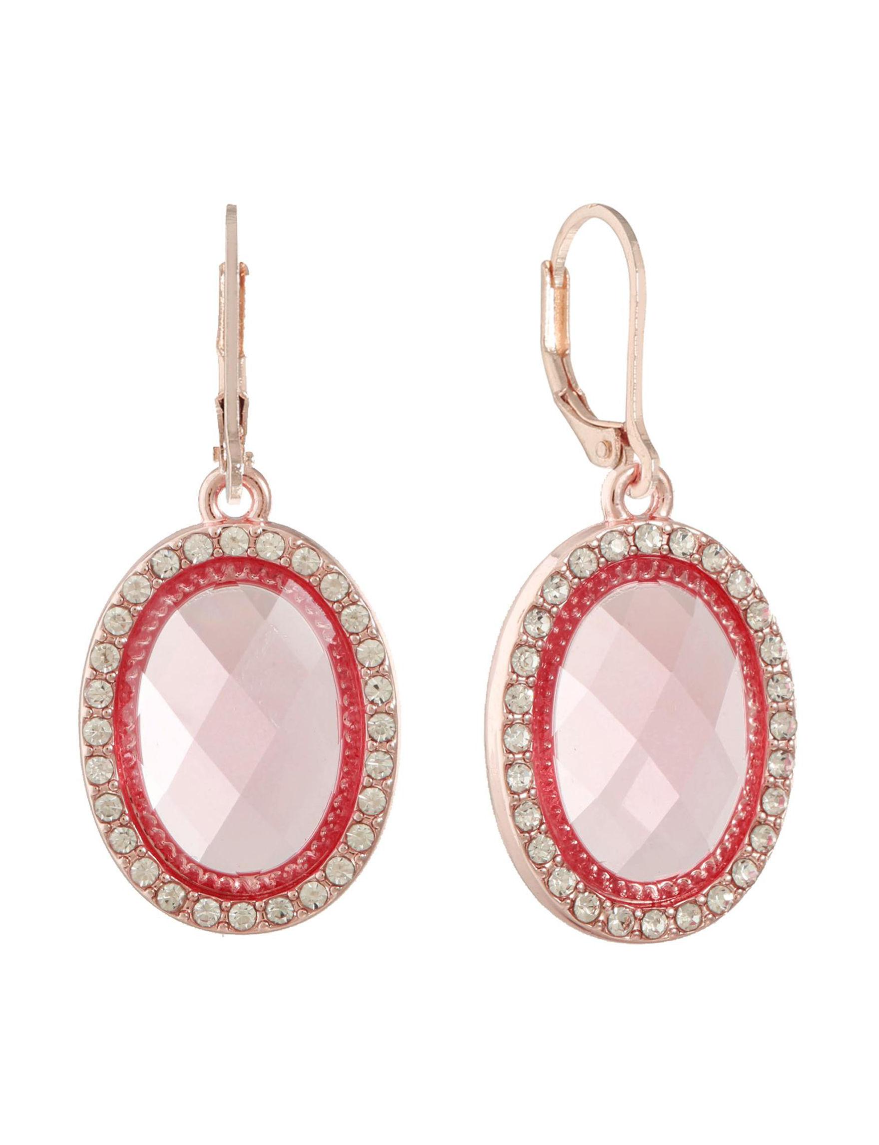 Gloria Vanderbilt Rose Gold / Pink Drops Earrings Fashion Jewelry