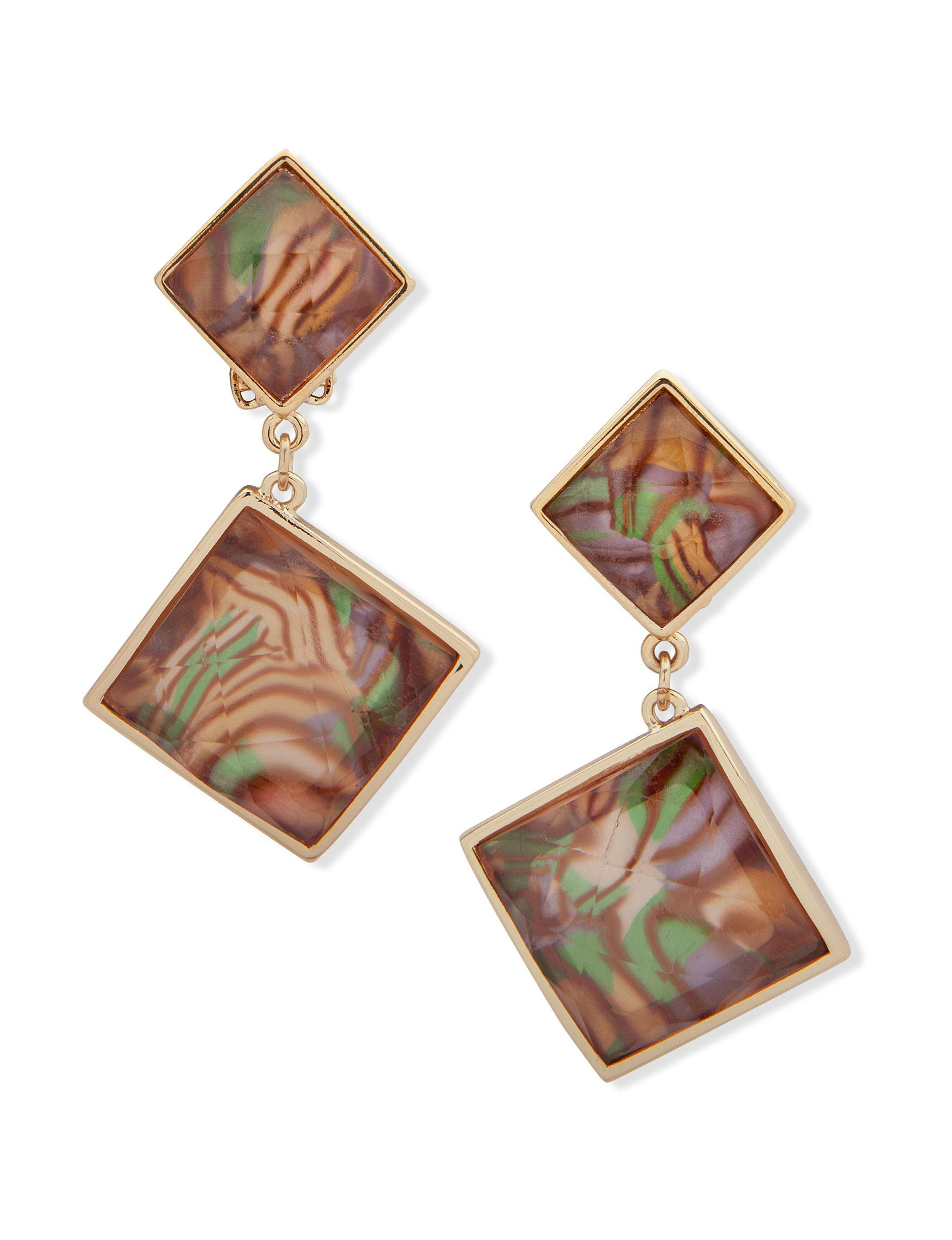 Gloria Vanderbilt Gold / Brown Multi Drops Earrings Fashion Jewelry